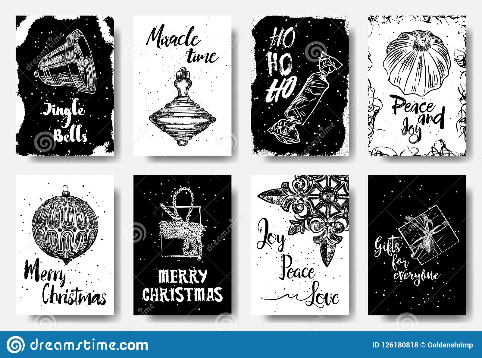 Set of 8 merry christmas and happy new year hand drawn greeting download set of 8 merry christmas and happy new year hand drawn greeting stock vector m4hsunfo