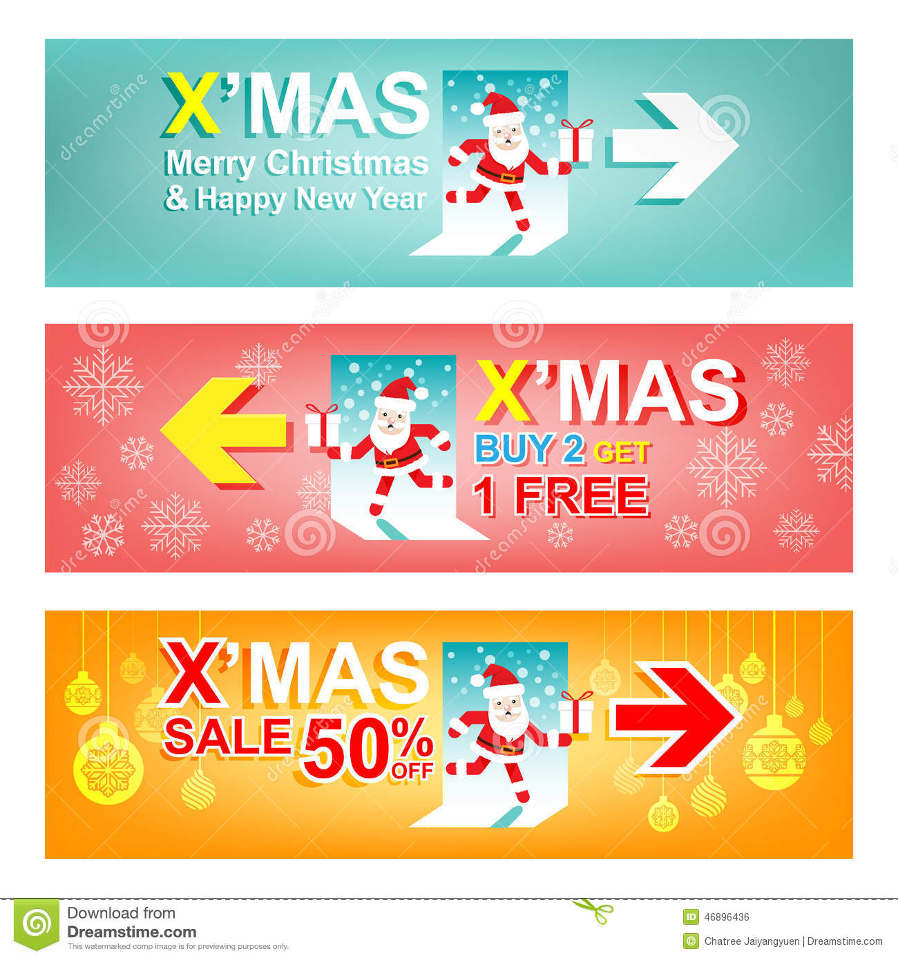 set of merry christmas and new year sale banner xmas sign concept