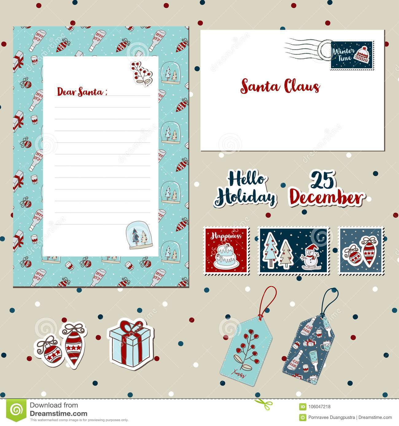 a set of merry christmas santa cute letter envelope templates scrapbook stamps stickers label tags with text snowman tree cake snowfall
