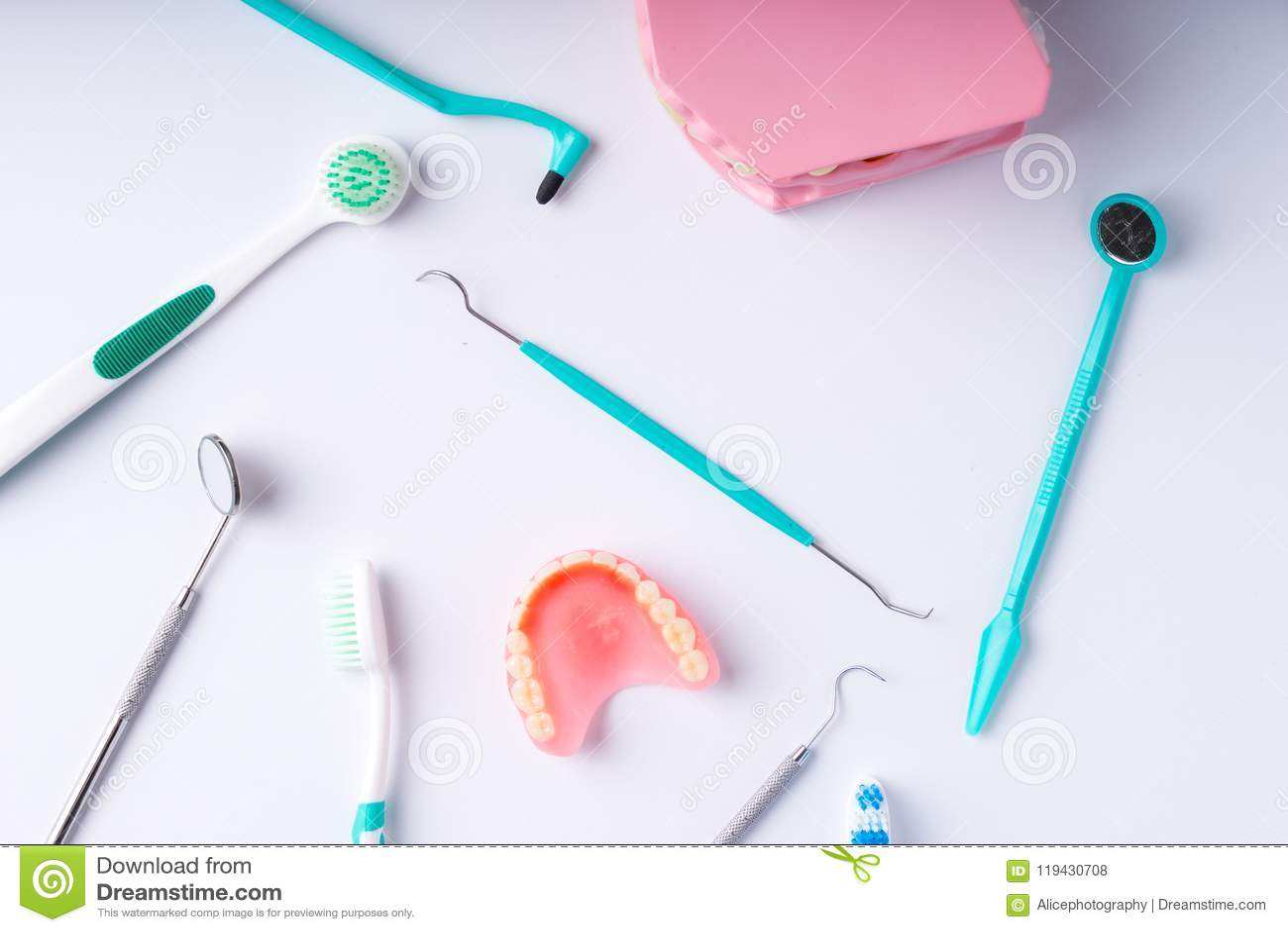 Set of metal Dentist`s medical equipment tools, top view