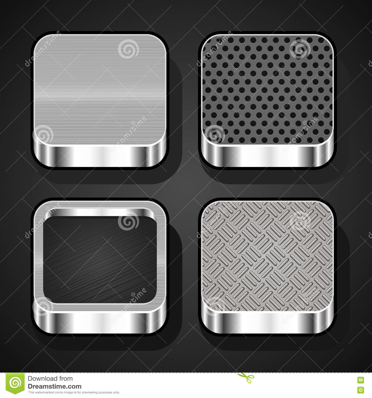 set of metal ios icons stock vector illustration of computer 32645677