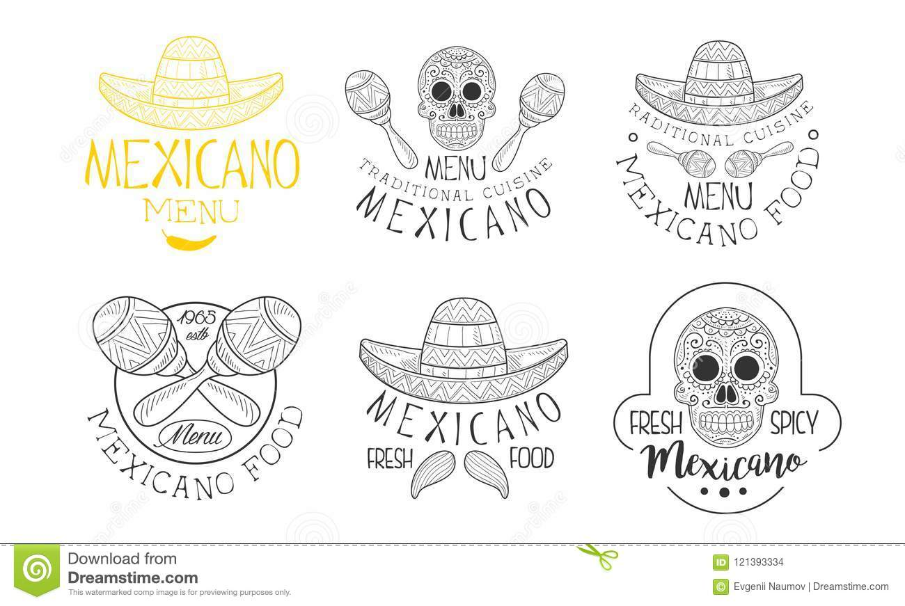 Set Of 6 Mexican Logos For Traditional Restaurants Hand Drawn
