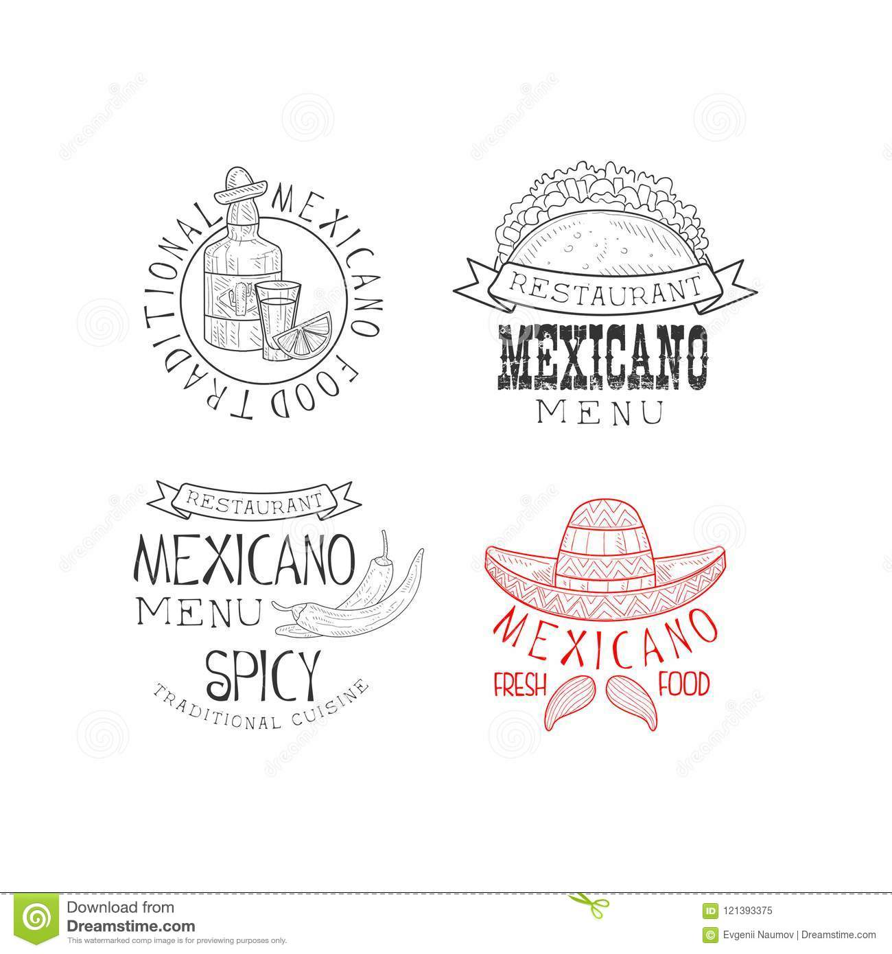 Vector Set Of 4 Mexican Restaurant Logos Hand Drawn Emblems With