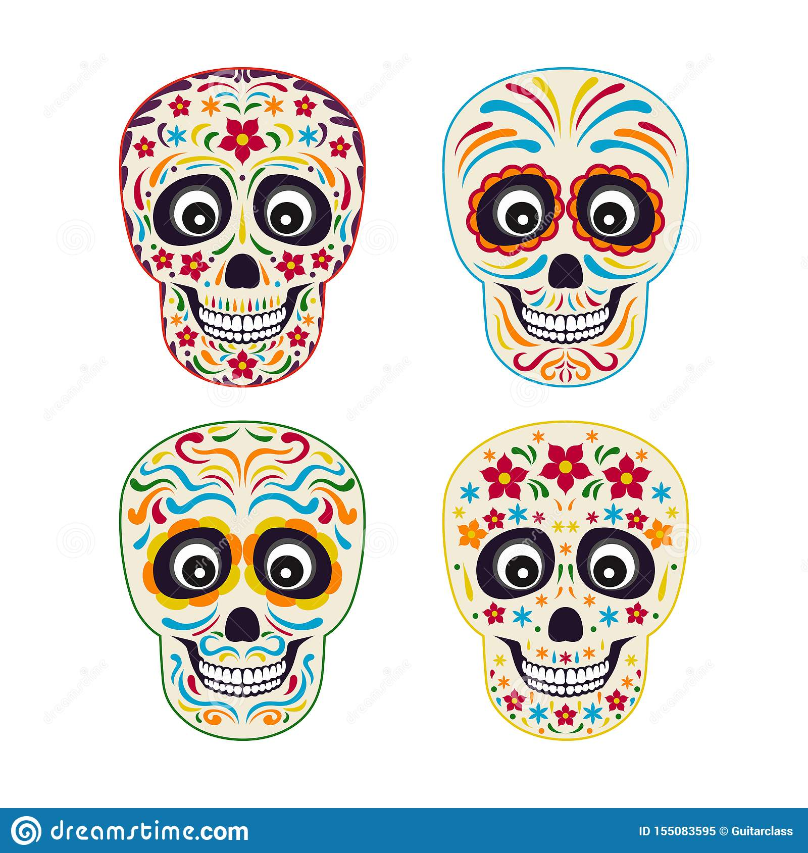 Set of mexican sugar skull with colorful ornament.