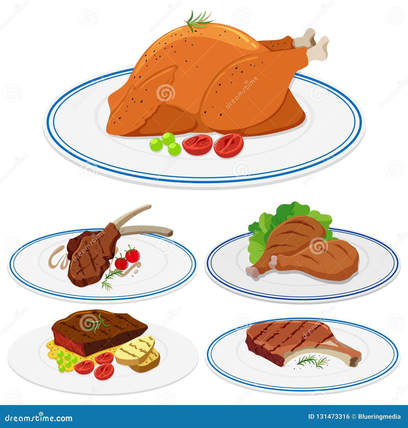 Set mięsny jedzenie na talerzu