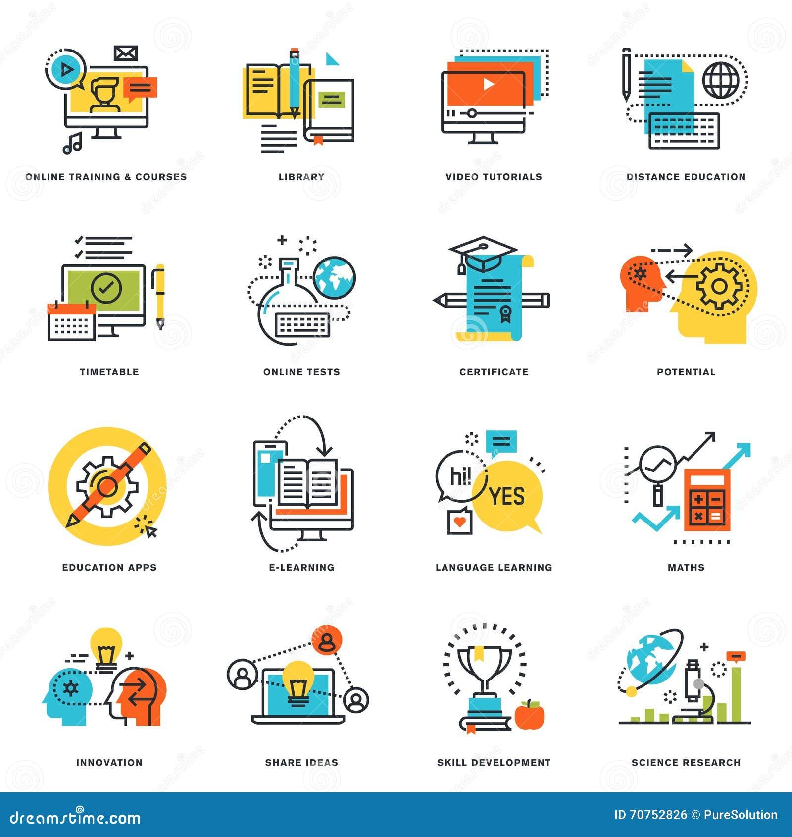 Set mieszkanie linii projekta ikony online edukacja i nauczanie online