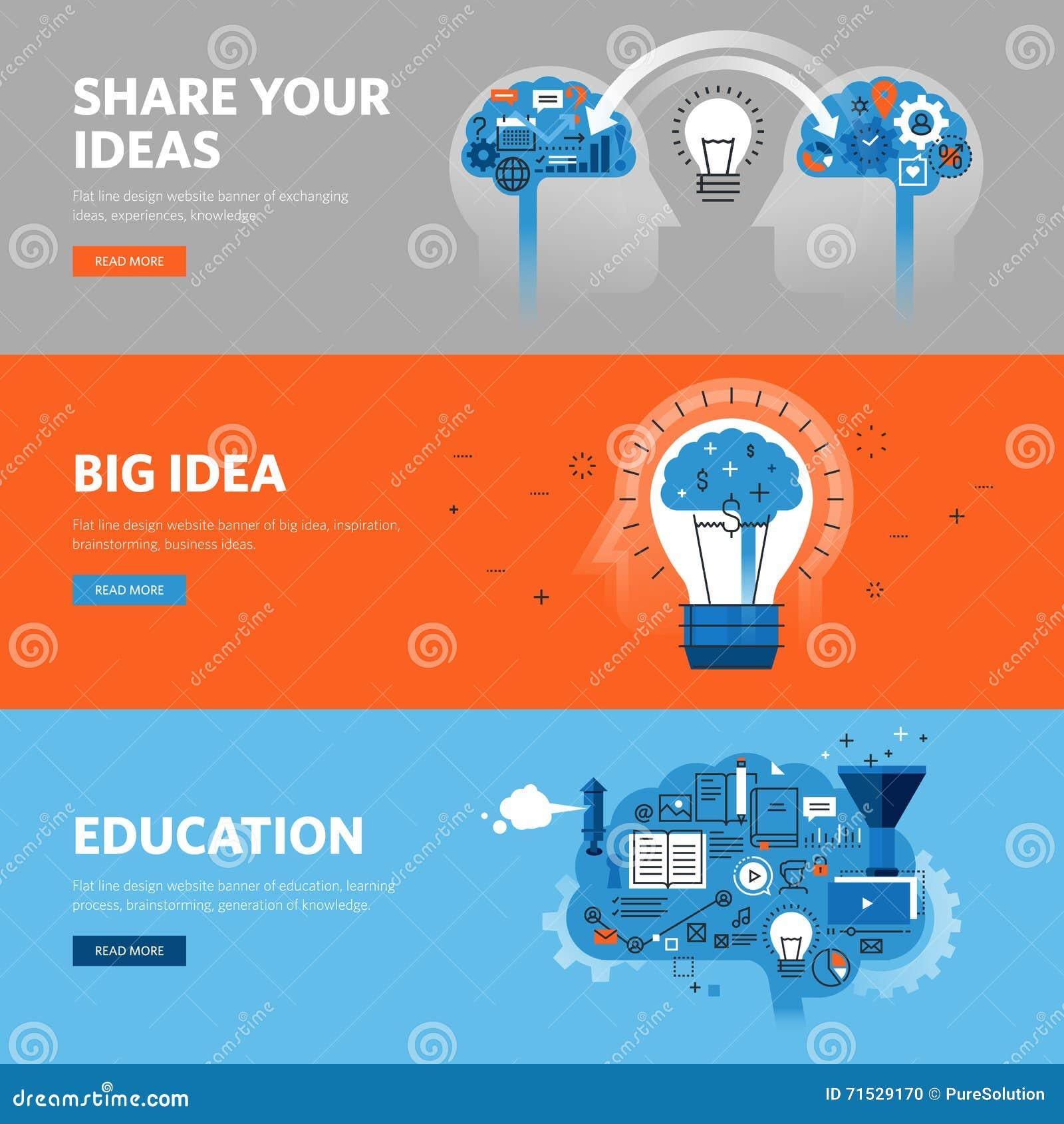 Set mieszkanie linii projekta sieci sztandary dla edukaci, uczenie proces, brainstorming, wymienia pomysły