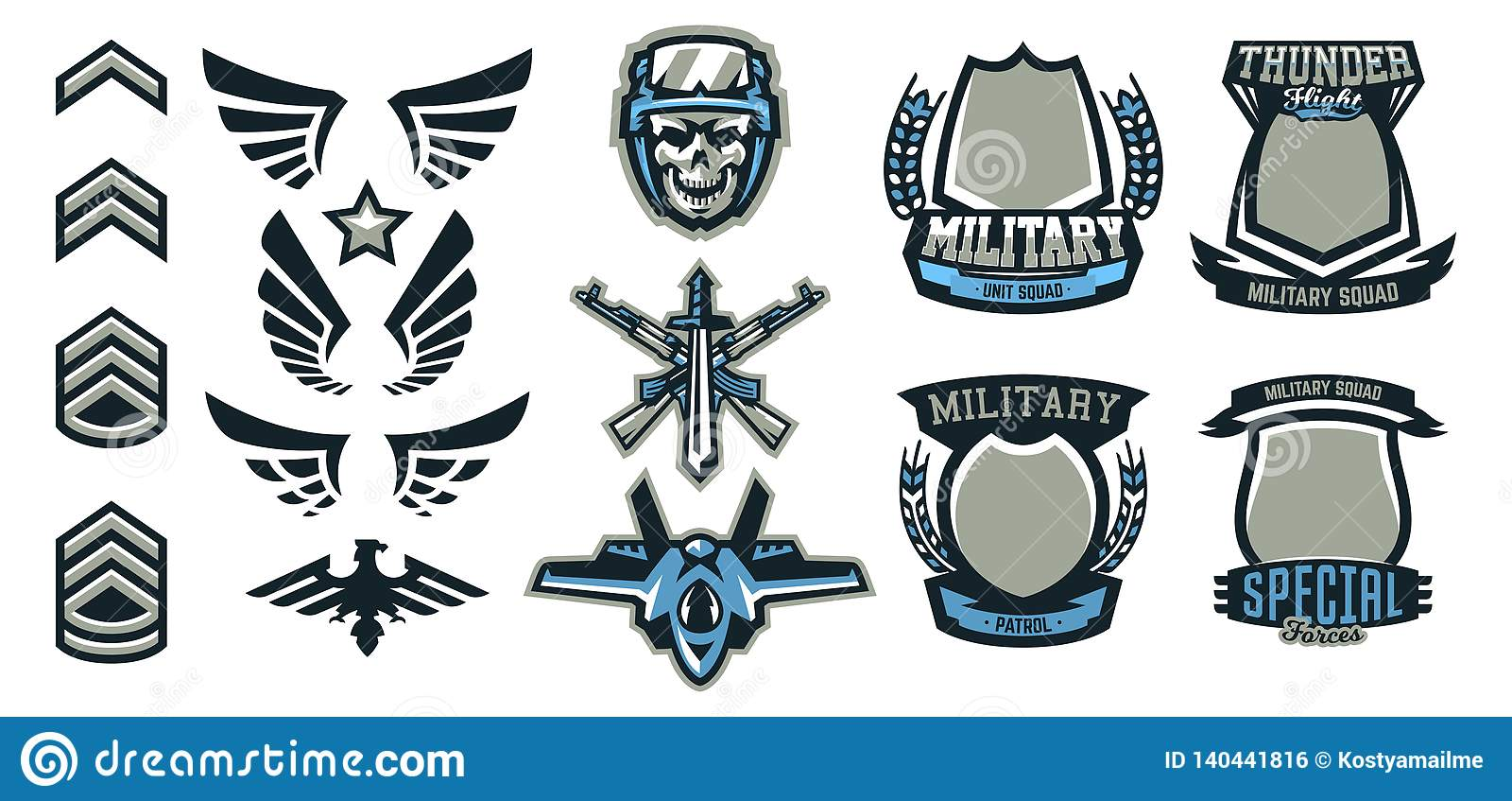 Set of military and military badges. Emblems, automatic weapons, skull, ammunition, eagle, wings, templates. Vector