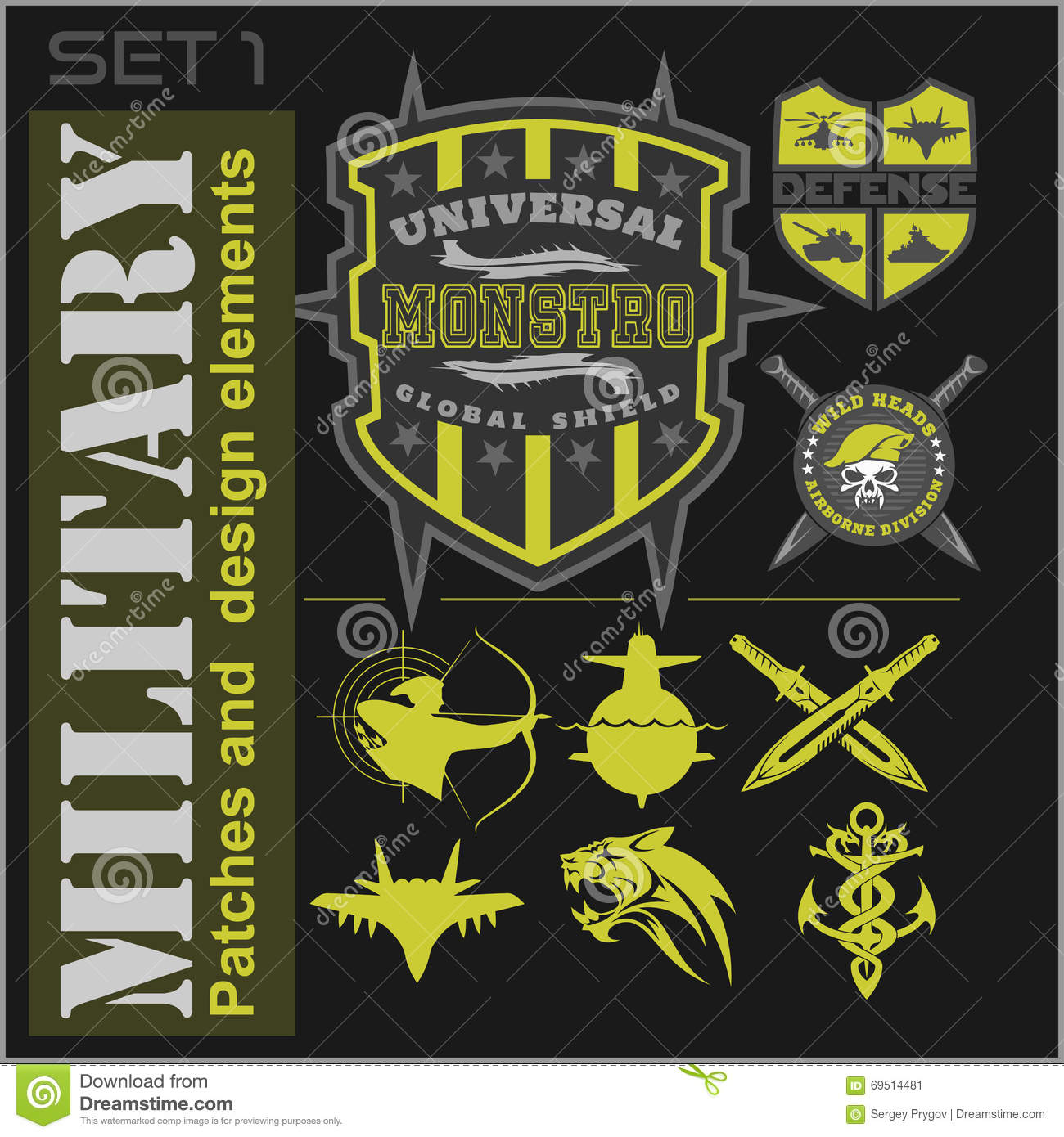 Set of military patches logos badges and design elements for Military patch template
