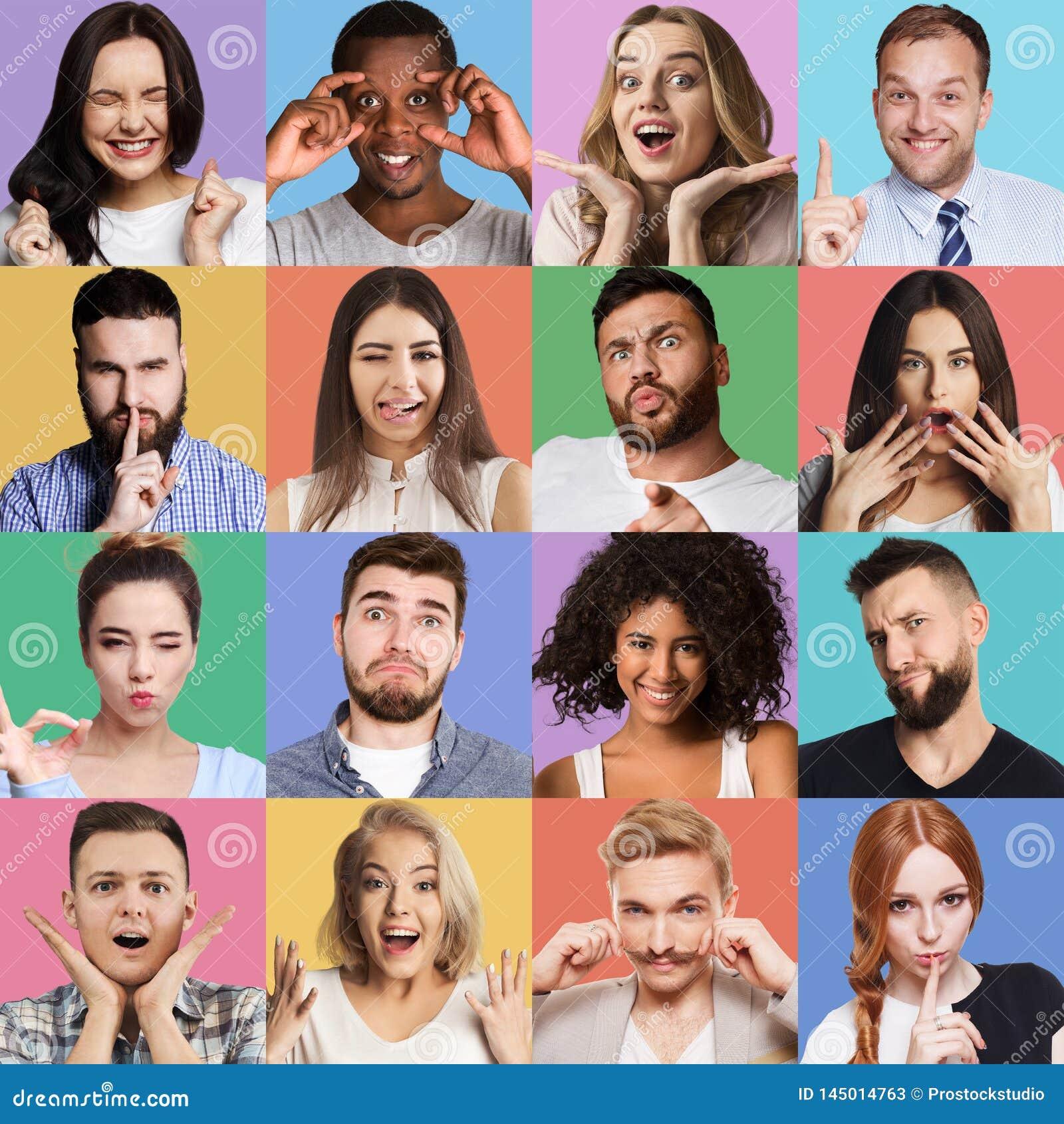 Set millennials emocjonalni portrety