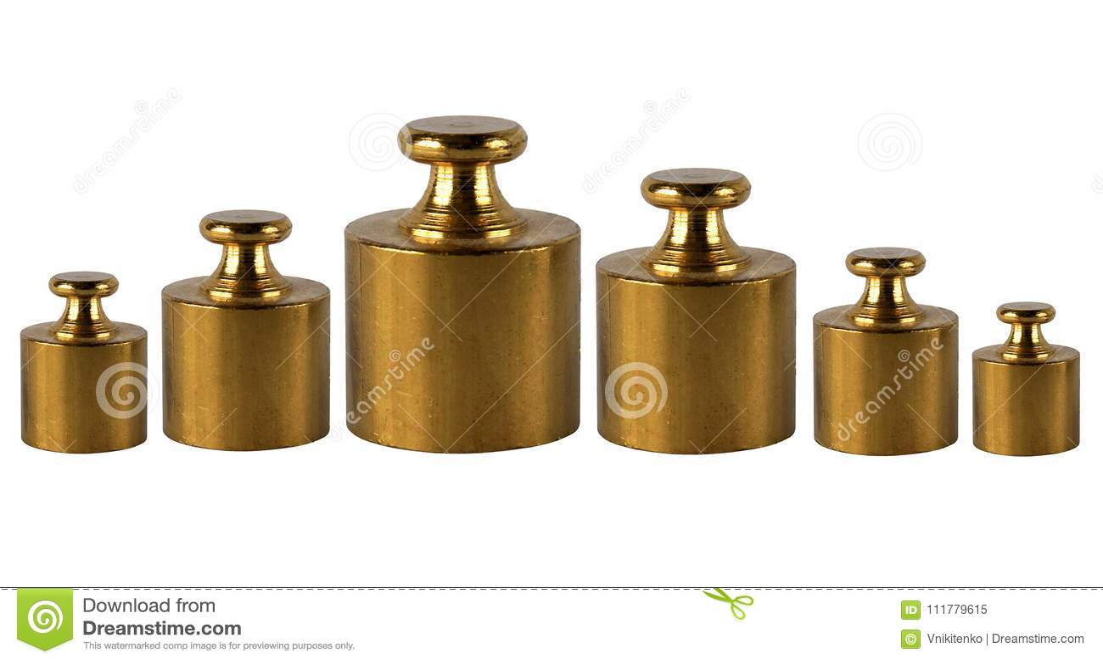 A set of miniature bronze vintage weights