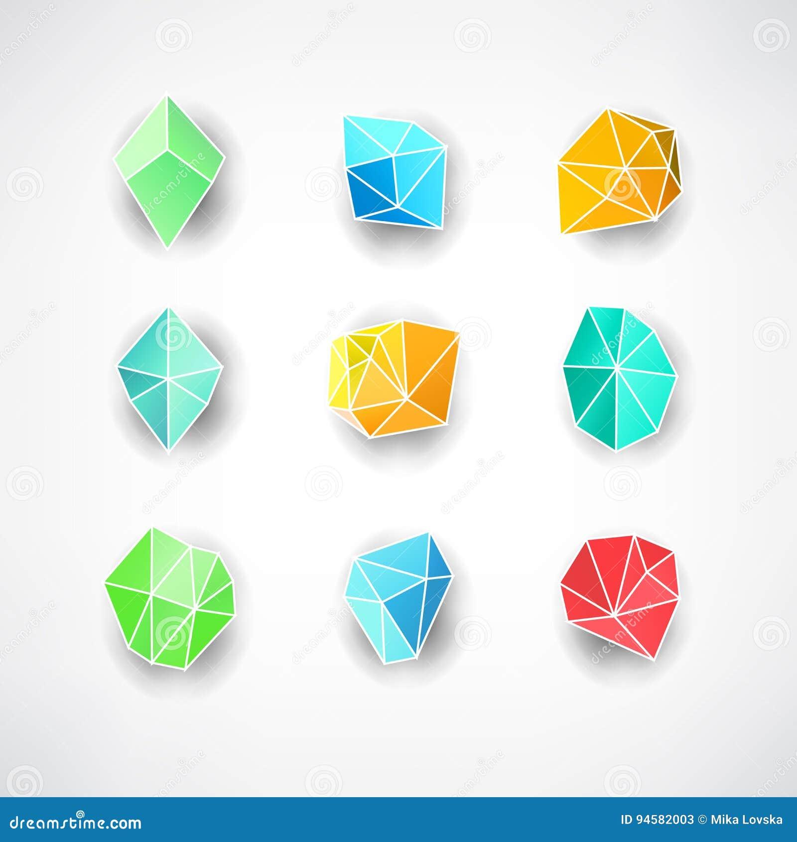 Set Of Minimal Geometric Multicolor Symbol Set Shapes. Trendy Icons ...