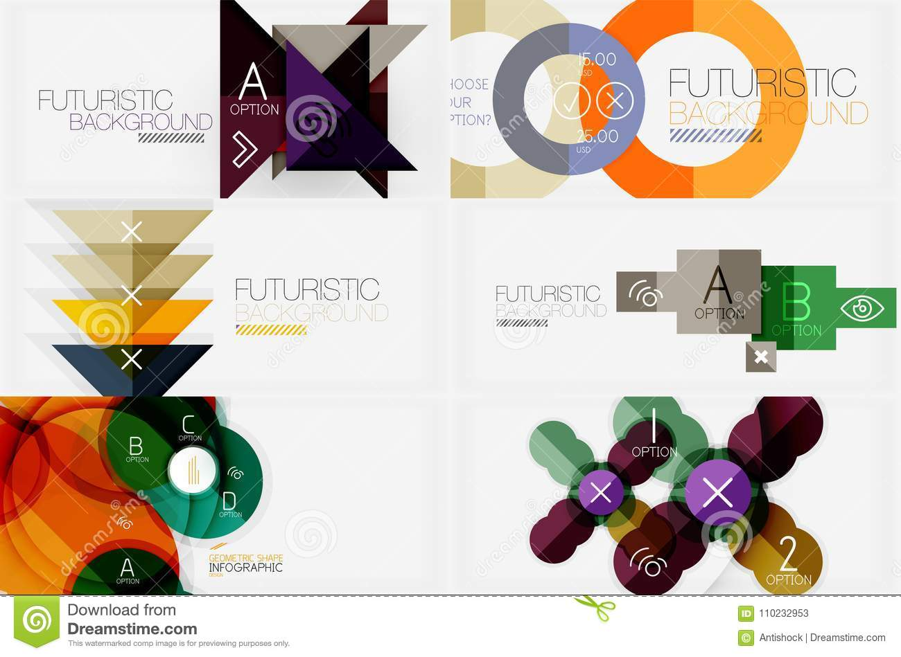 Set of minimalistic geometric banners with triangles and circles and other shapes. Web design or business slogan