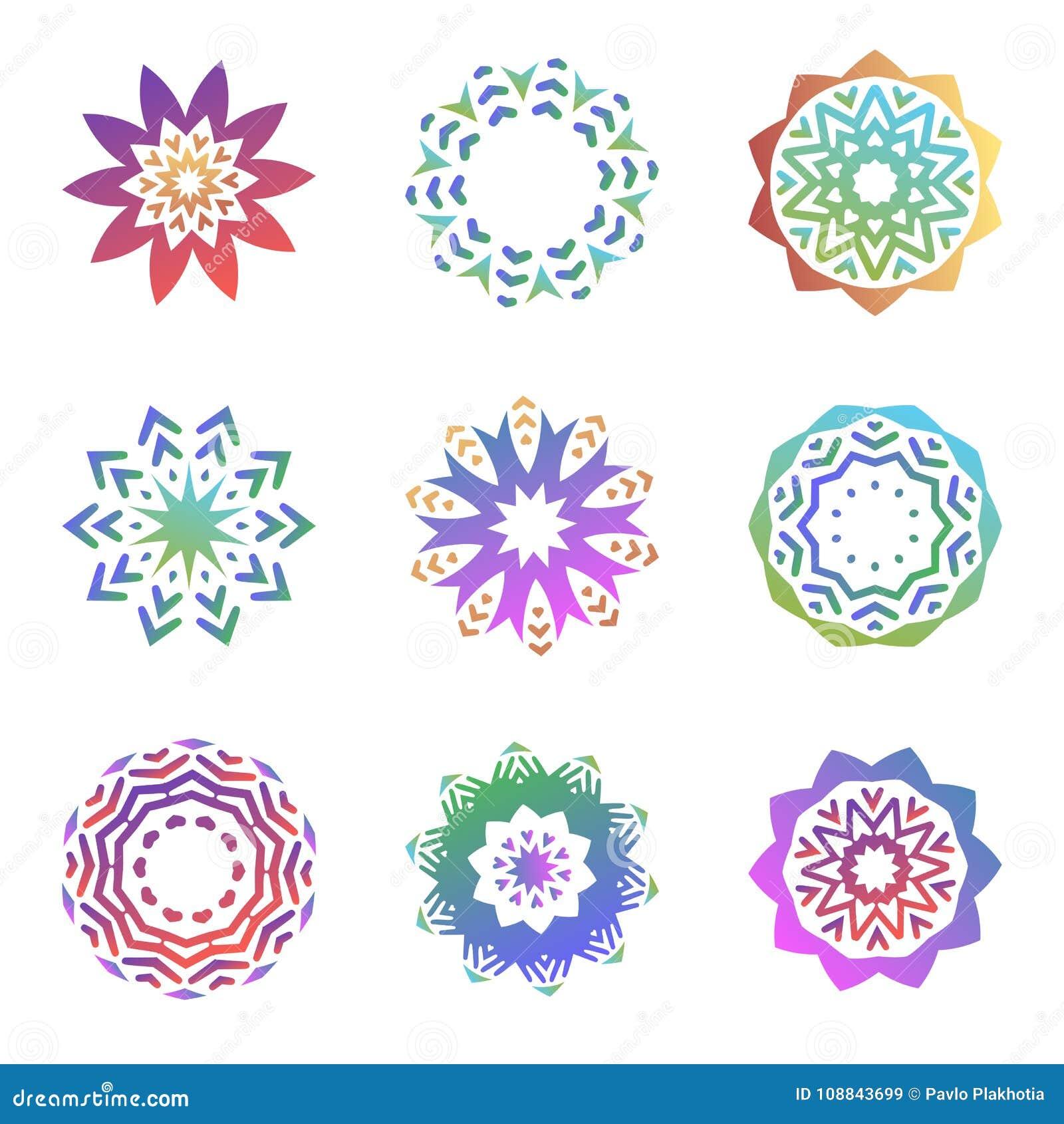Set minimalistic modni kształty Kreatywnie logów emblematy dla projekta Prości geometryczni mandala symbole inkasowi