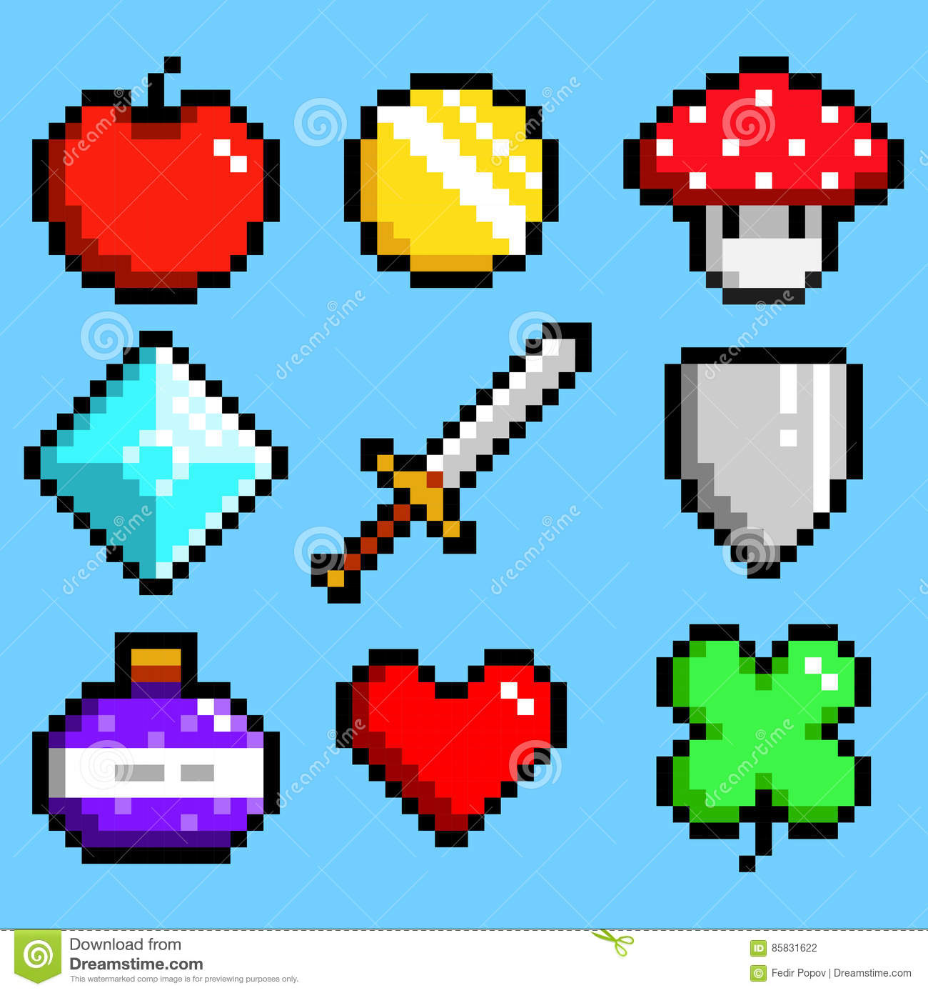 set-minimalistic-pixel-art-vector-objects-isolated-game-bit-style-graphic-symbols-group-collection-apple-85831622 Pixel Art Vector @koolgadgetz.com.info