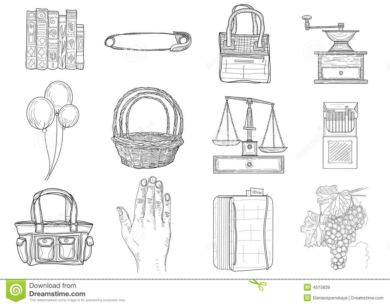 Download Set of miscellaneous icons stock vector. Illustration of basket - 4515839