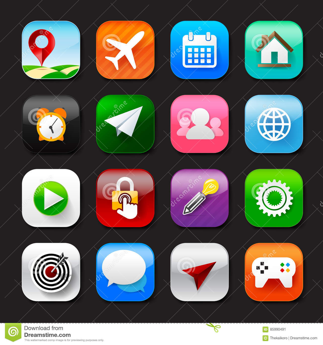 Set of mobile app and social media icons vector eps10 set 002