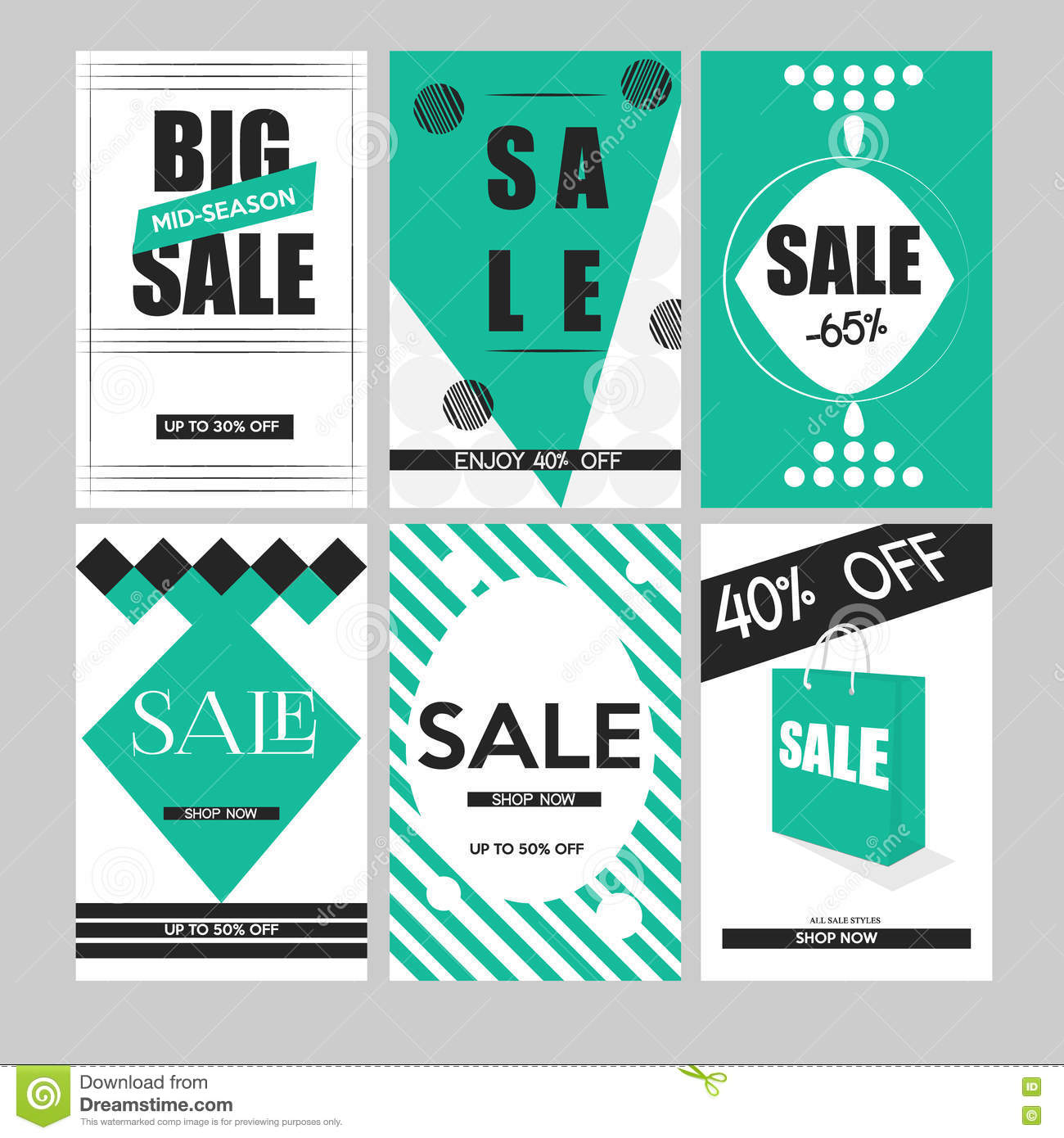 Poster design website - Set Of Mobile Banners For Online Shopping Vector Illustrations Website And Social Media Posters