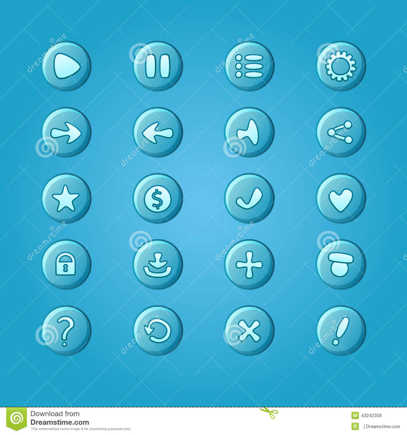 Blue Buttons For Game Ui Vector Illustration