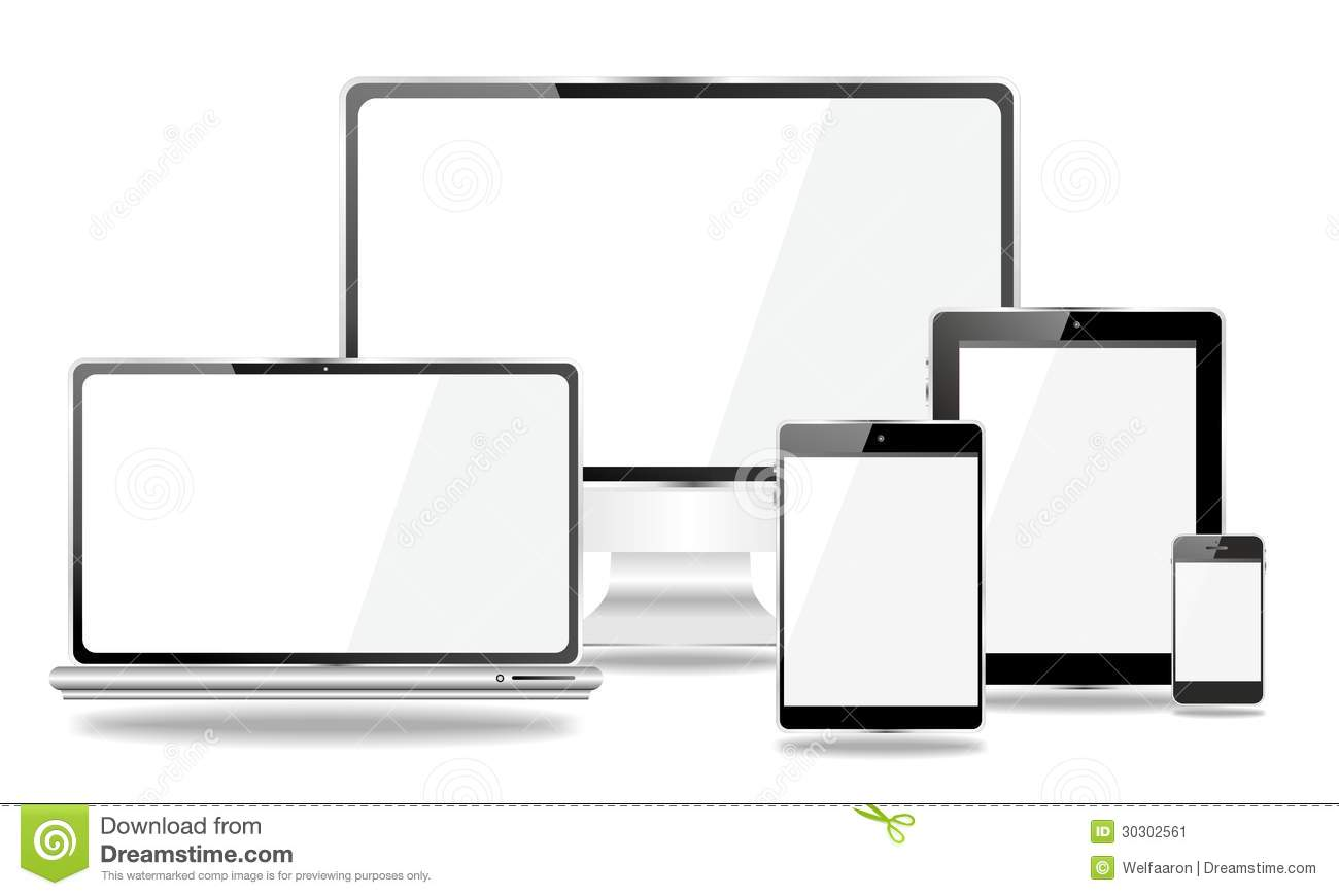 set of mobile devices  smartphone  tablet pc  laptop stock image