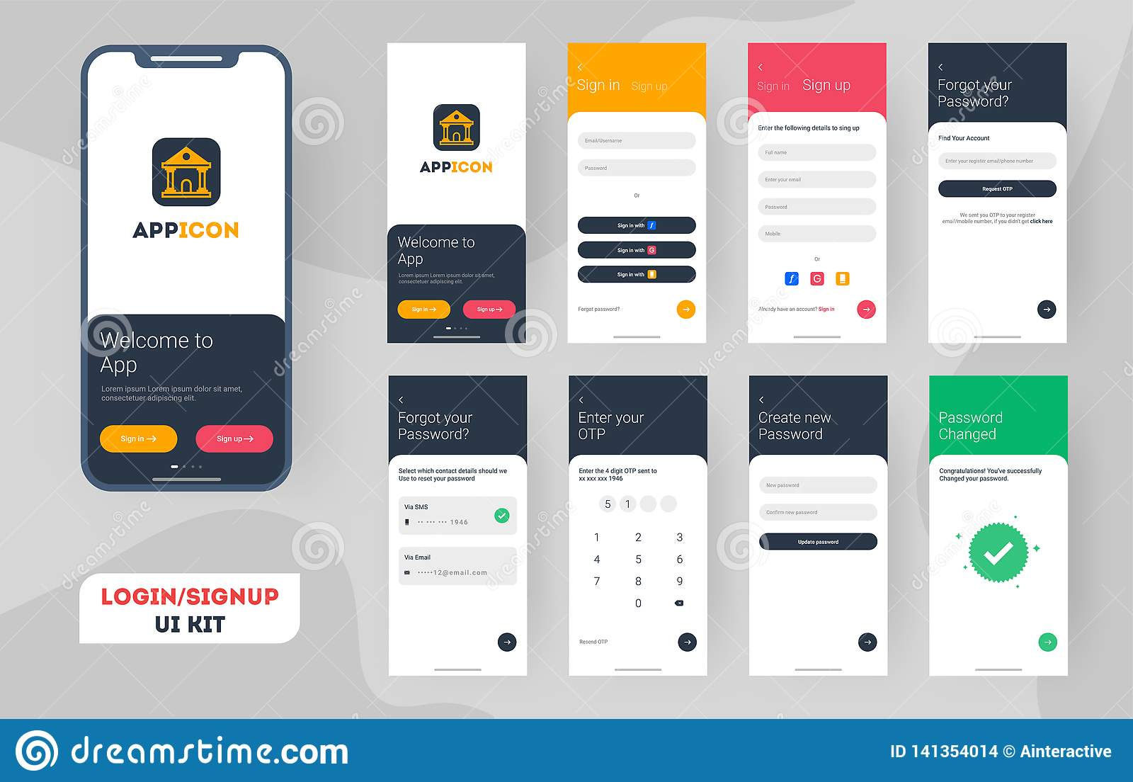 Set Of Mobile Login Screens With UI  Stock Illustration