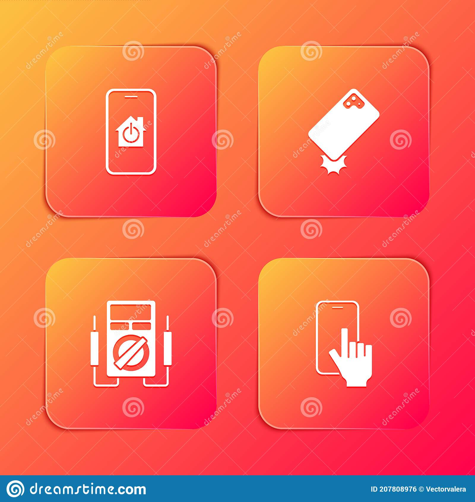 Set Mobile With Smart Home Shockproof Phone Multimeter And Phone Repair Service Icon Vector Stock Illustration Illustration Of Mobile Equipment 207808976