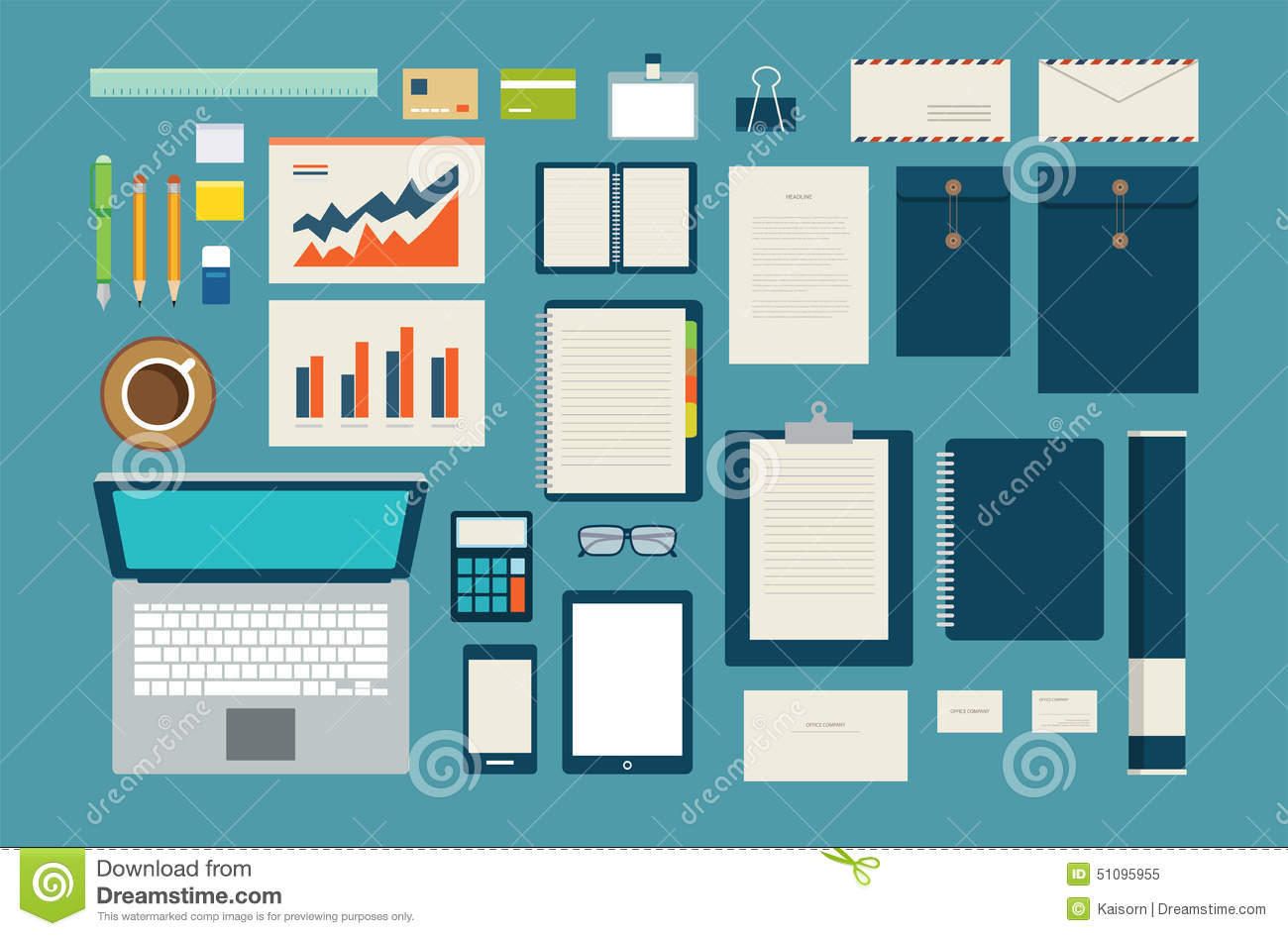 set of mock up business template office tool stock vector