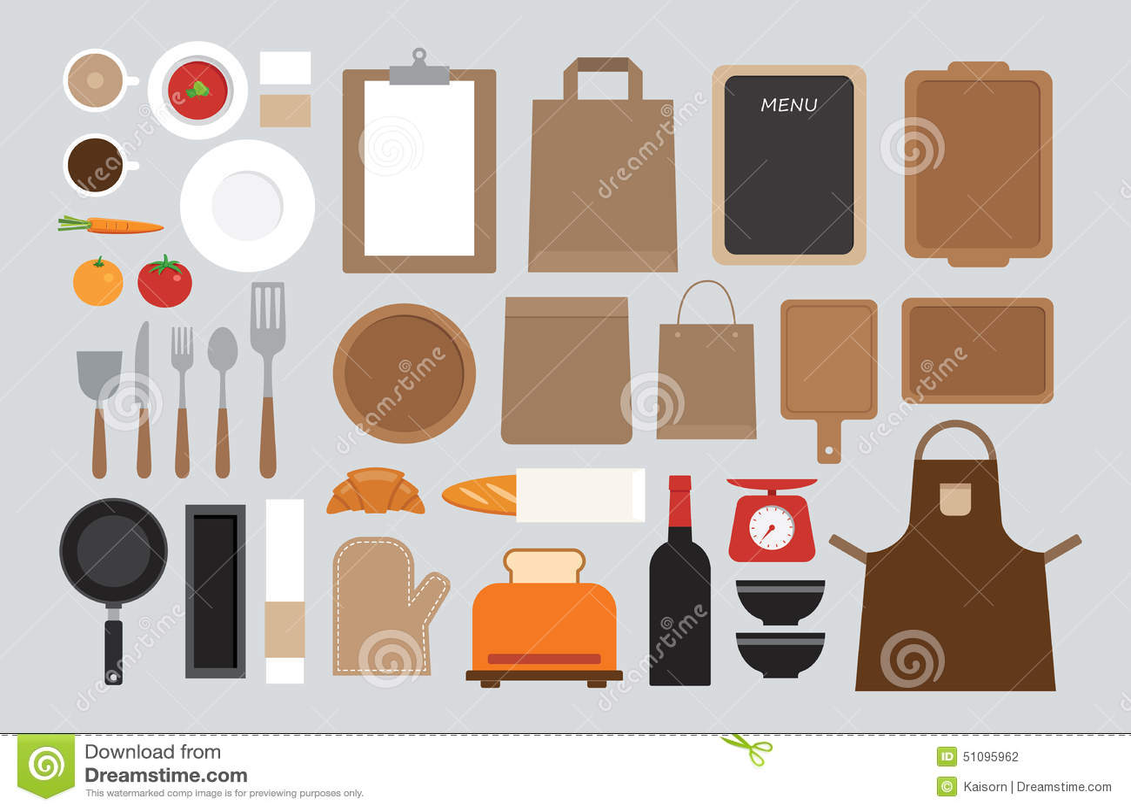 Set of mock up kitchen tool flat design stock vector for Kitchen design vector