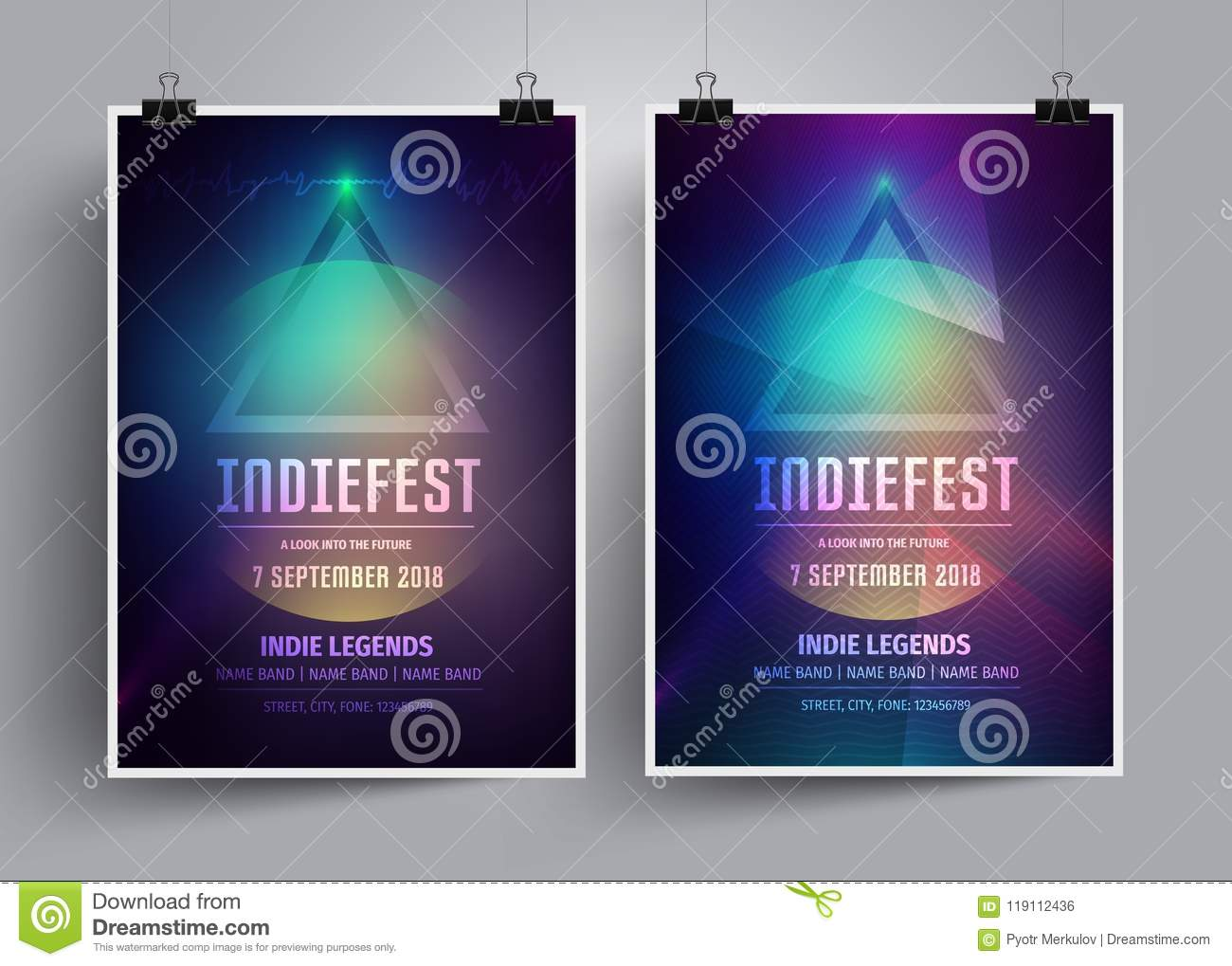 Set Of Mockup Poster Templates Or Flyers For An Indie Rock Concert