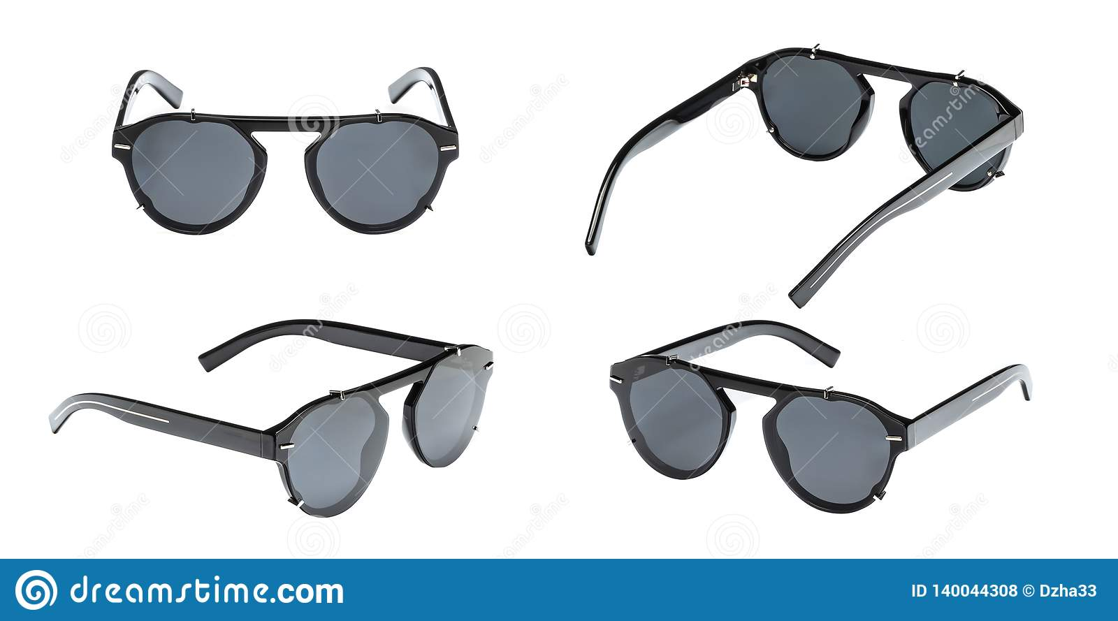 fe5f8f48bbe Set modern black sunglasses in round frame isolated on white background.  Collection summer glasses with polarization.