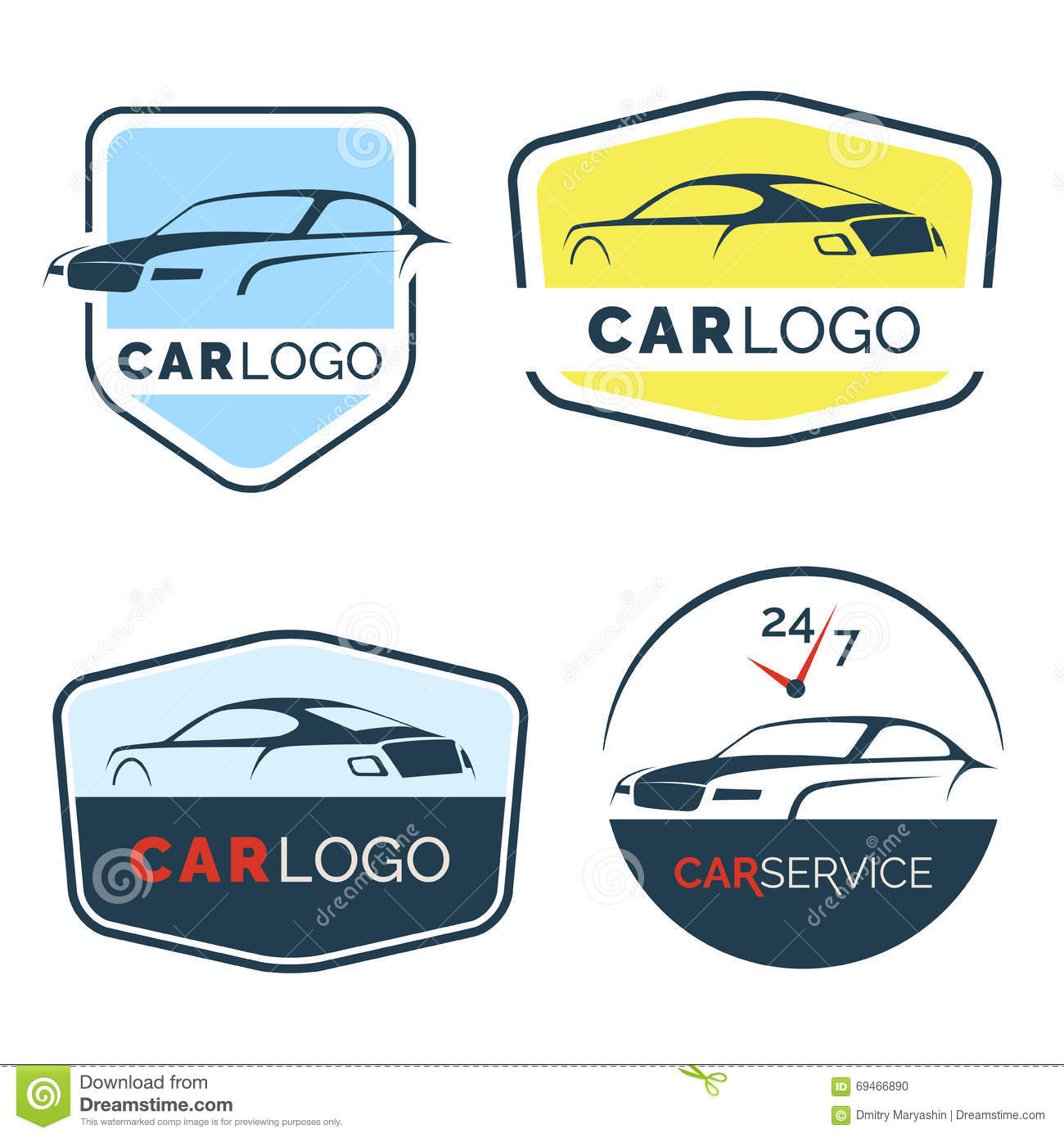 Set Of Modern Car Emblems Badges And Icons Stock Vector
