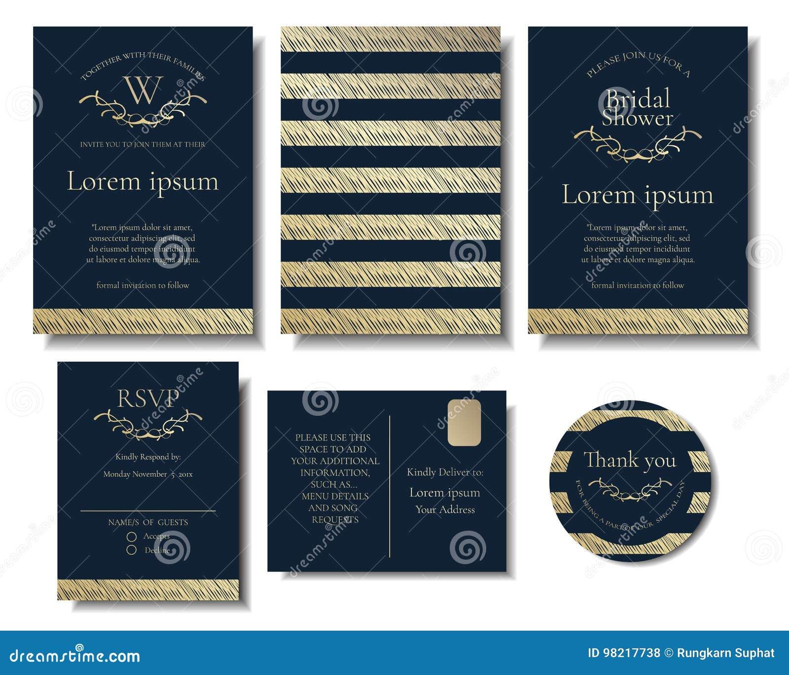 Set of modern chic gold wedding invitation card vector design stock download comp stopboris Images