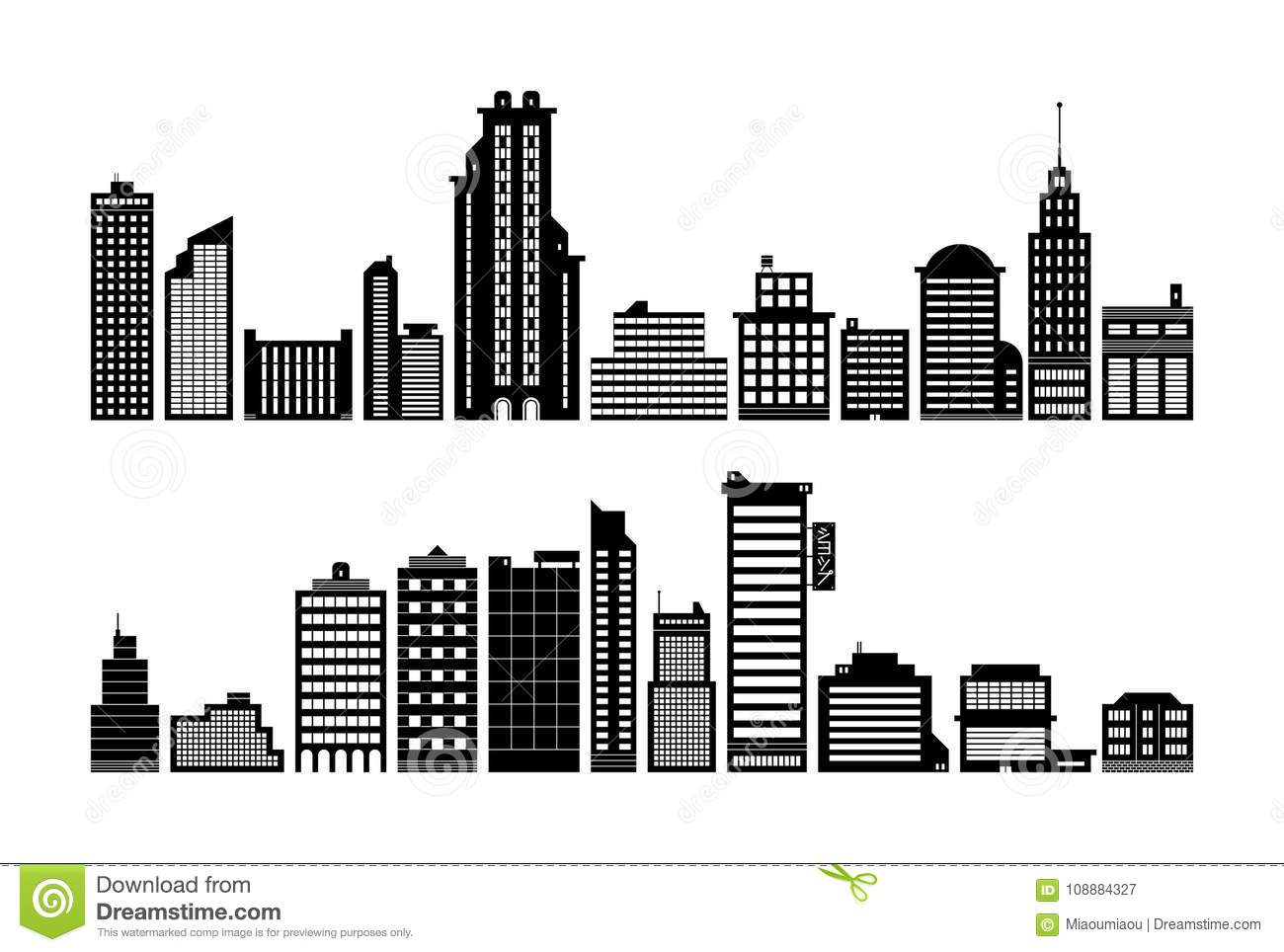 set of modern city buildings  black silhouette style