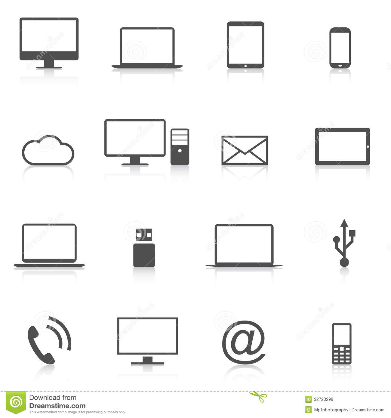 Set Of Modern Computer Icons Isolation Vector Royalty Free ...