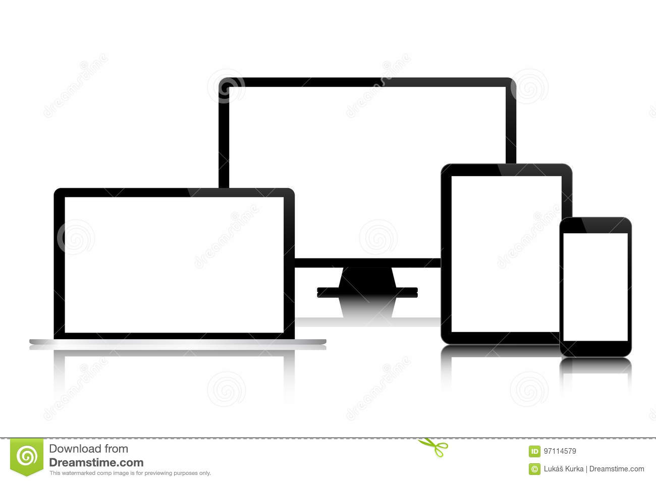 Set of modern digital tech devices with blank screen isolated on