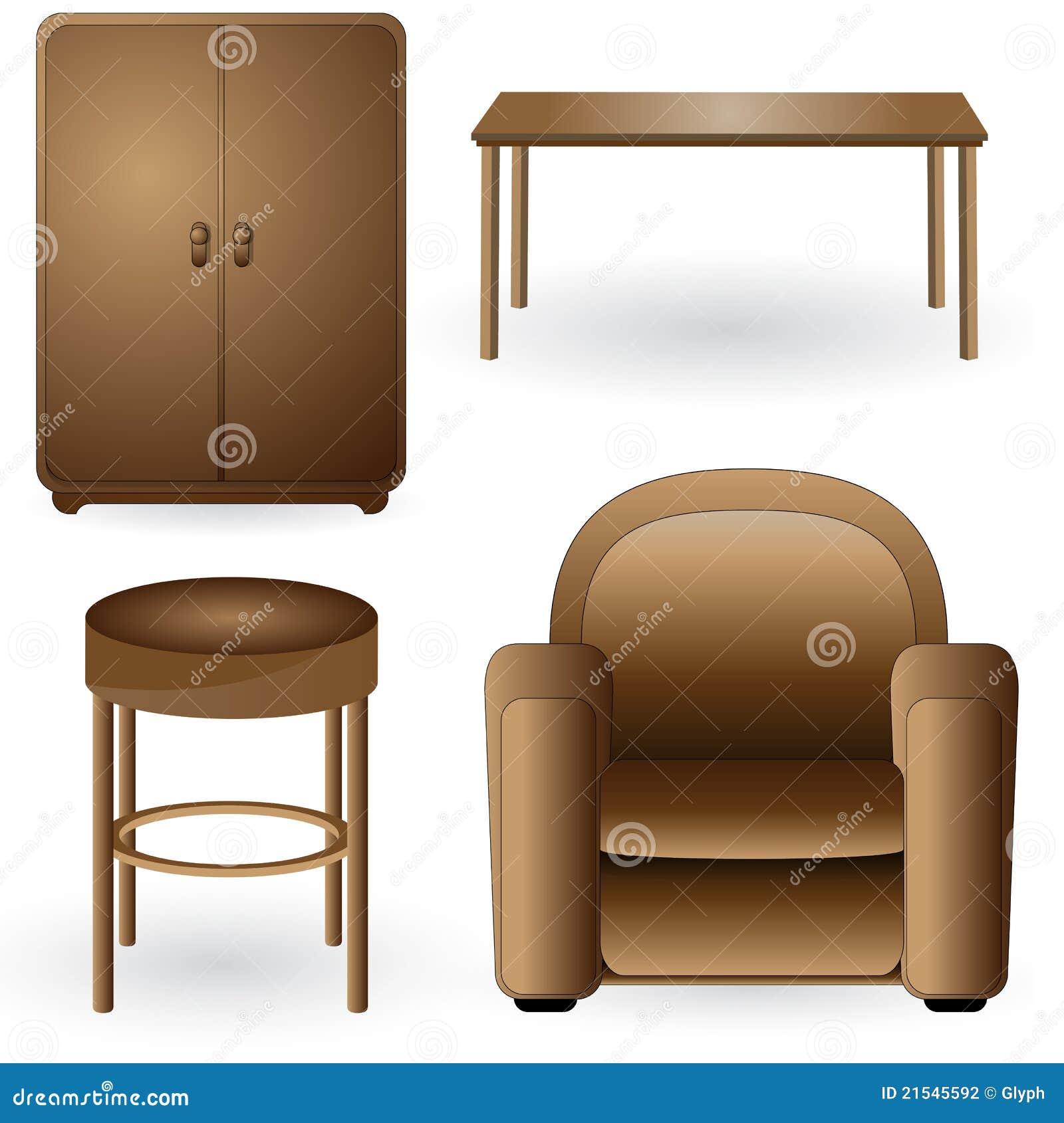 Set Of Modern Elegant Detailed Furniture Icons Stock