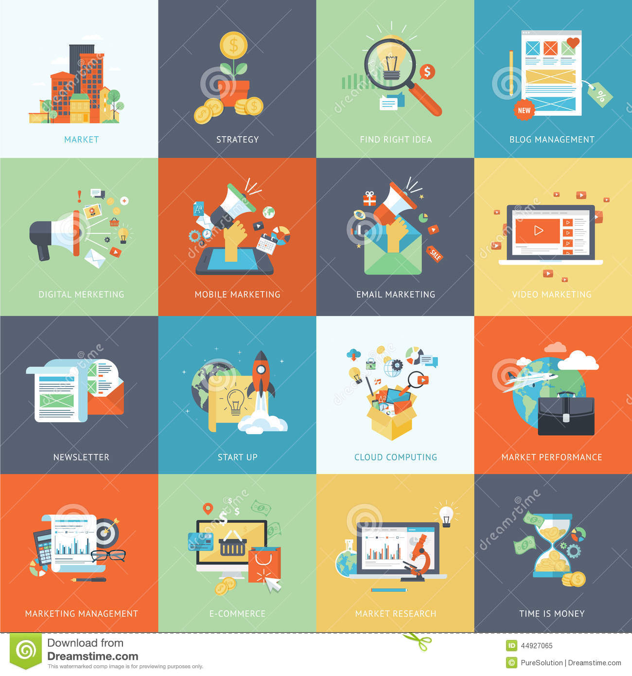 Modern Concept Of Classroom Management ~ Set of modern flat design concept icons for marketing