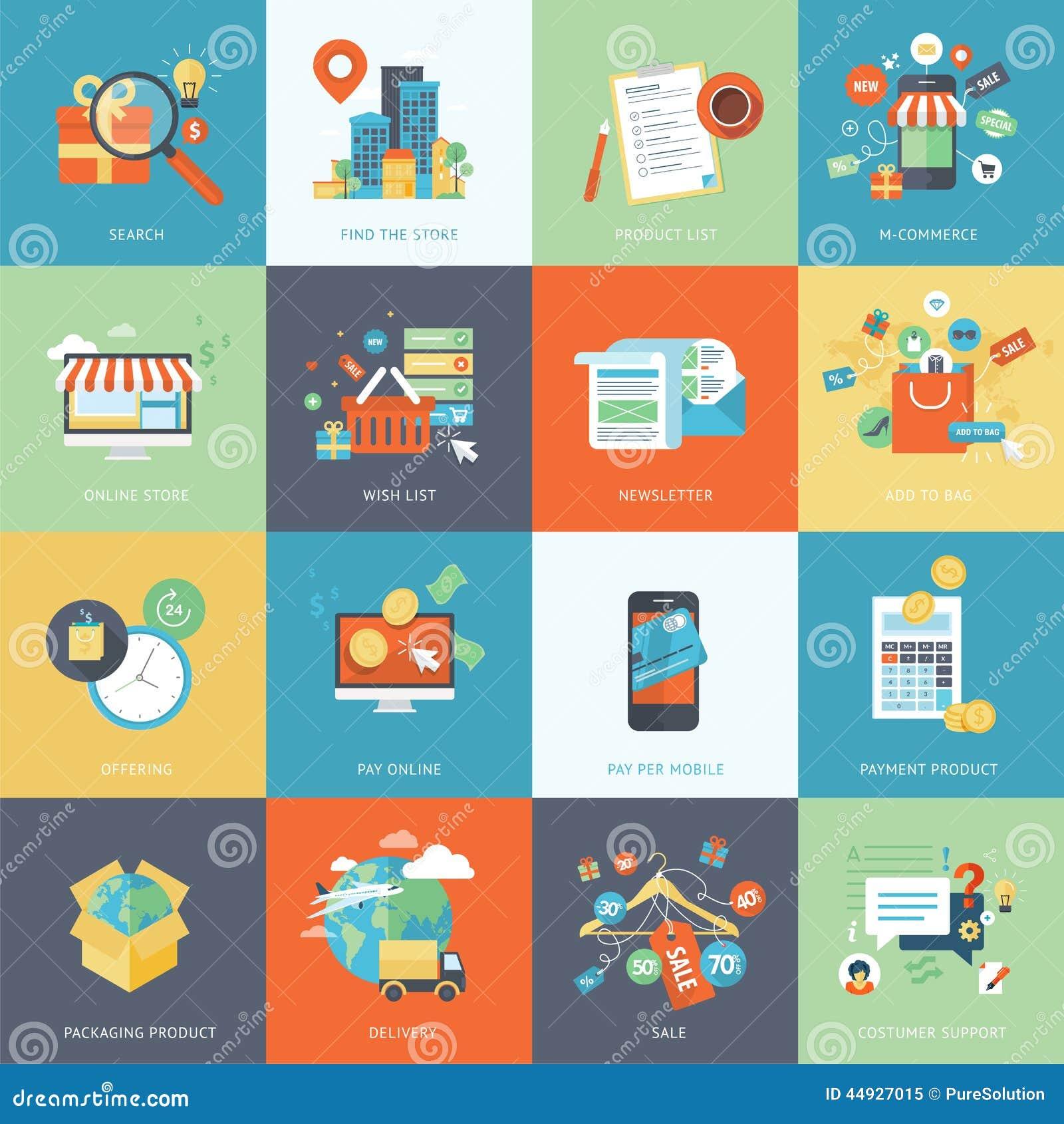 Set of modern flat design concept icons for online for Design scandinavo shop online