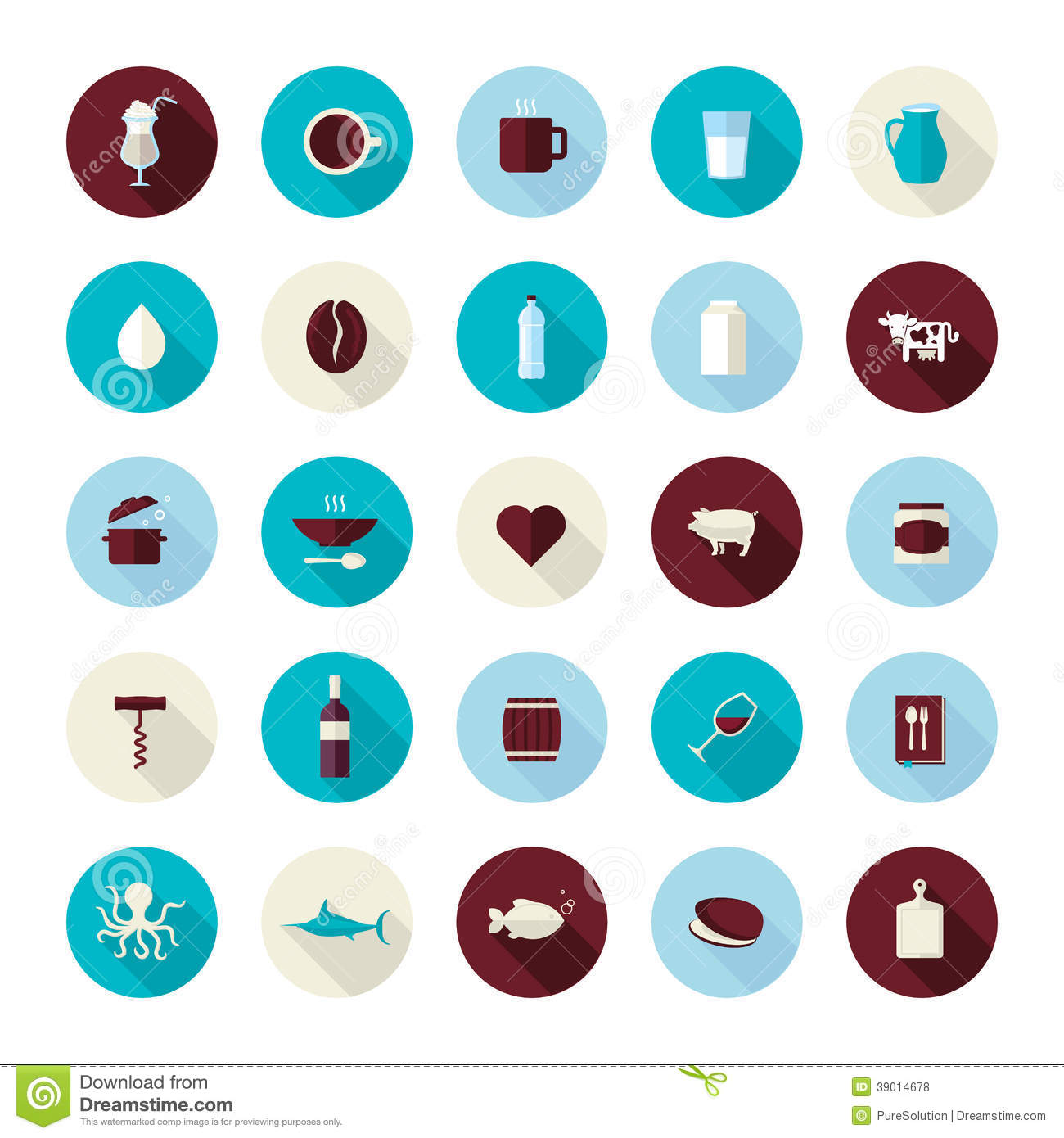 Set Of Modern Flat Design Icons For Food And Drink Stock