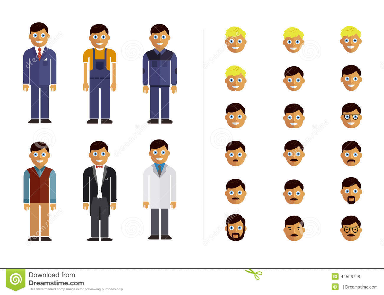 Character Design Career Information : Set of modern flat design profession characters stock