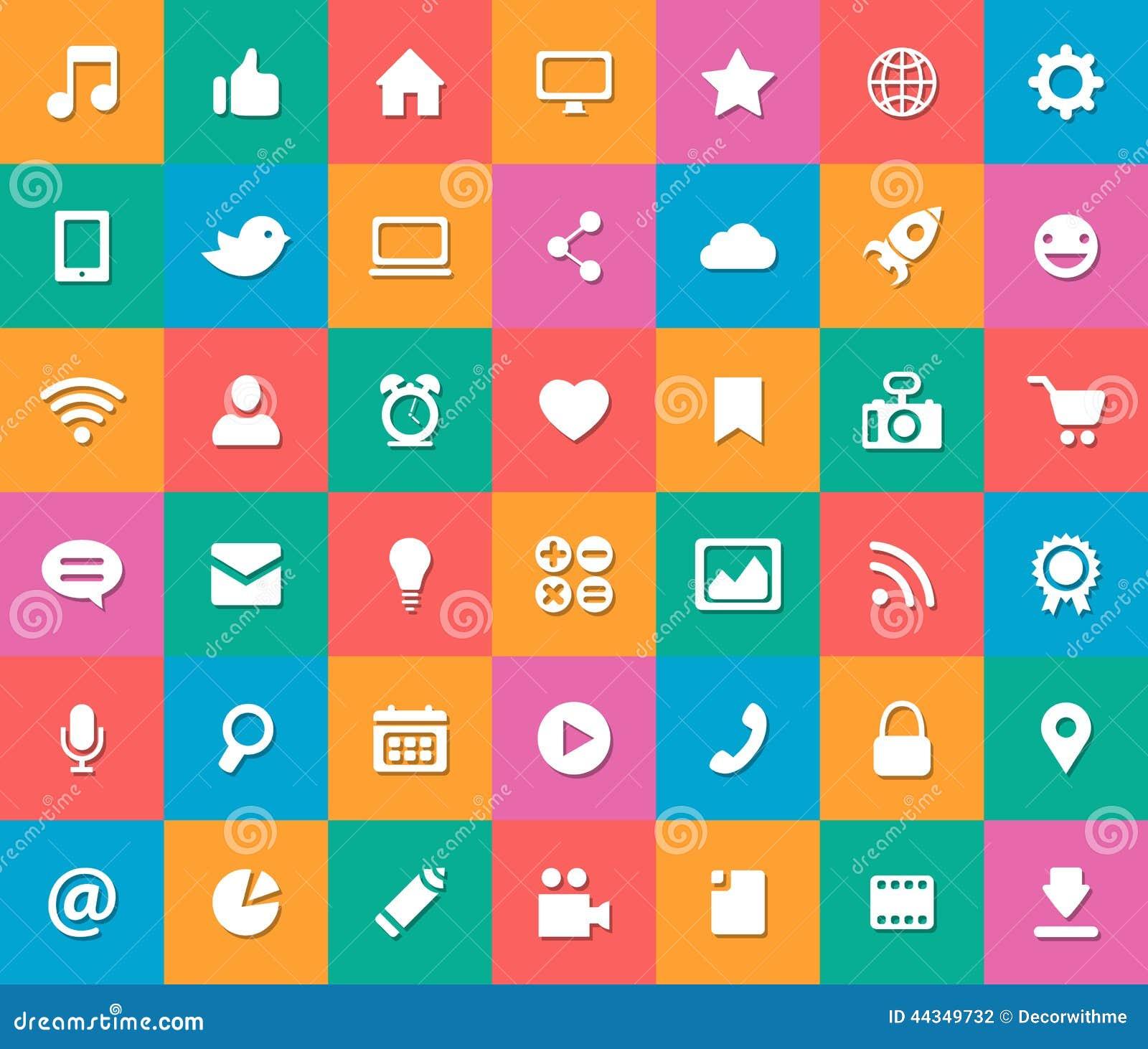 social media flat icon set cartoon vector cartoondealer