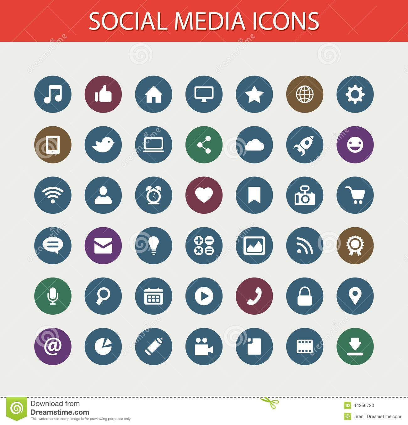 Set Of Modern Flat Design Social Media Icons Stock Vector Illustration Of Concept Group 44356723