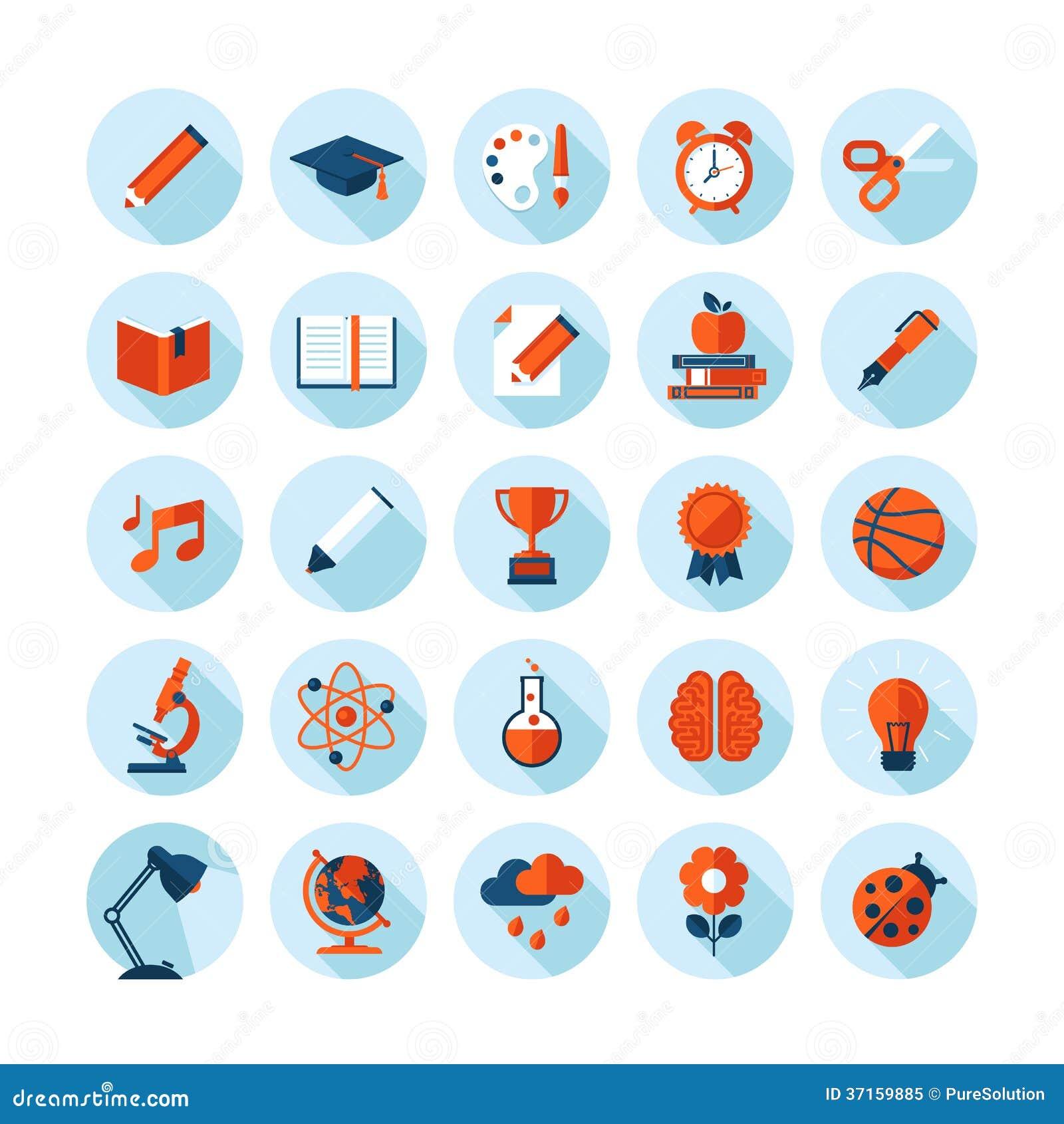 Set Of Modern Flat Icons On Education Theme Royalty Free