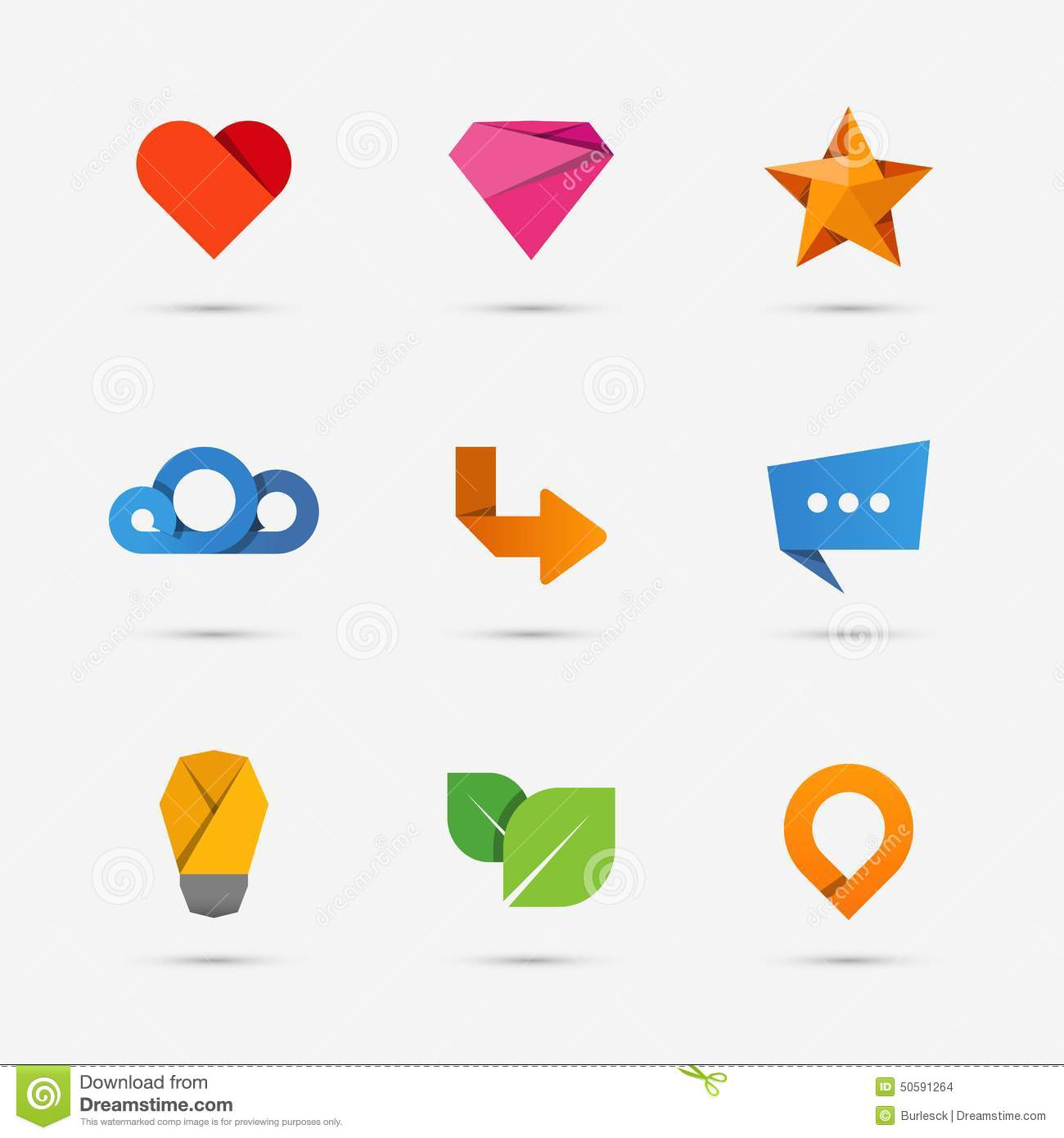 Set Of Modern Flat Paper Icons Or Logo Elements Stock
