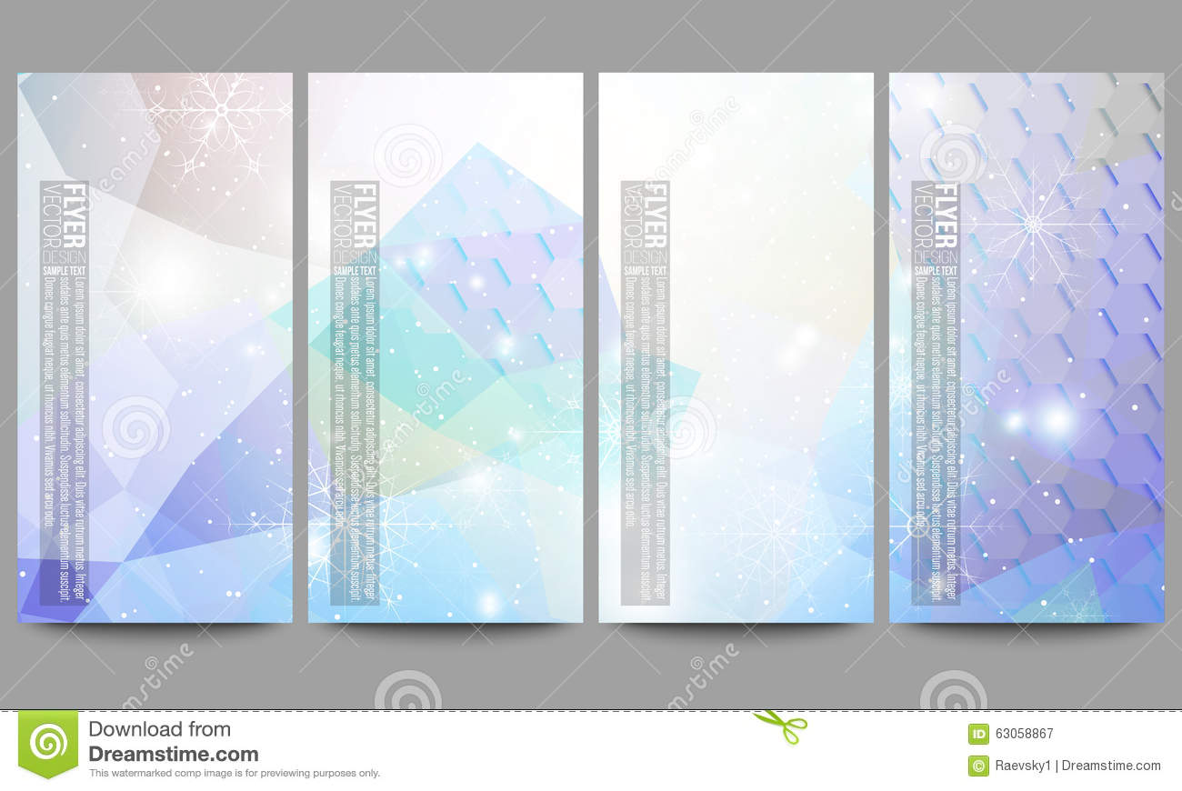 set of modern flyers blue abstract winter stock vector image set of modern flyers blue abstract winter
