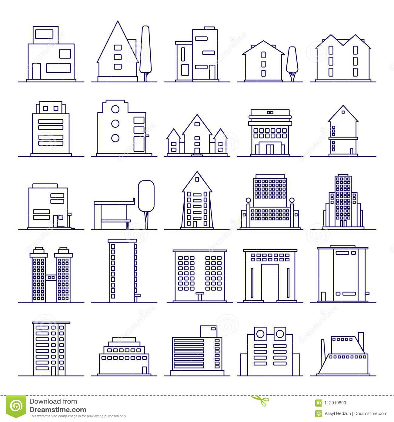 Set Of Modern Futuristic Building Icons Outline Buildings And