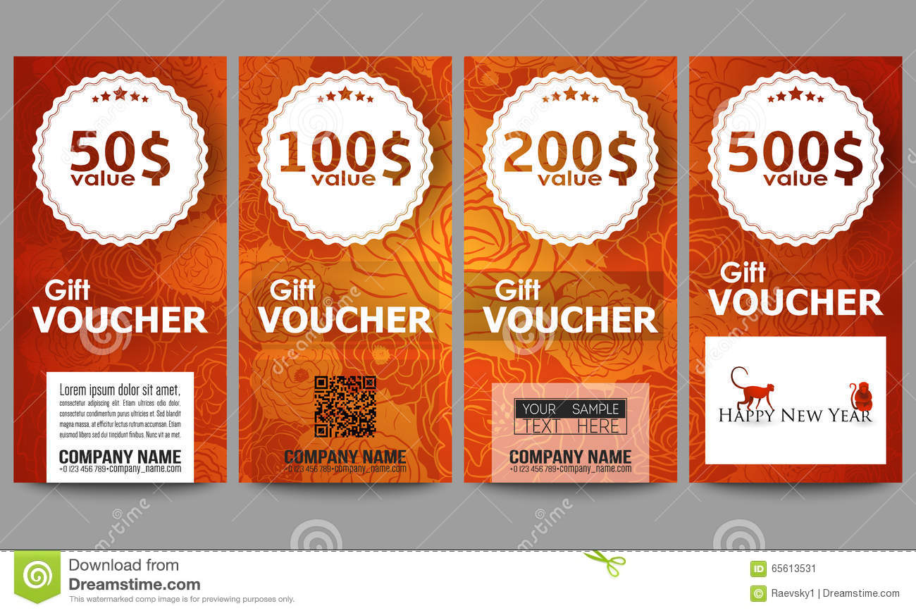 Chinese new year gift voucher template vector illustration stock set of modern gift voucher templates chinese new year background floral design with red yelopaper Gallery