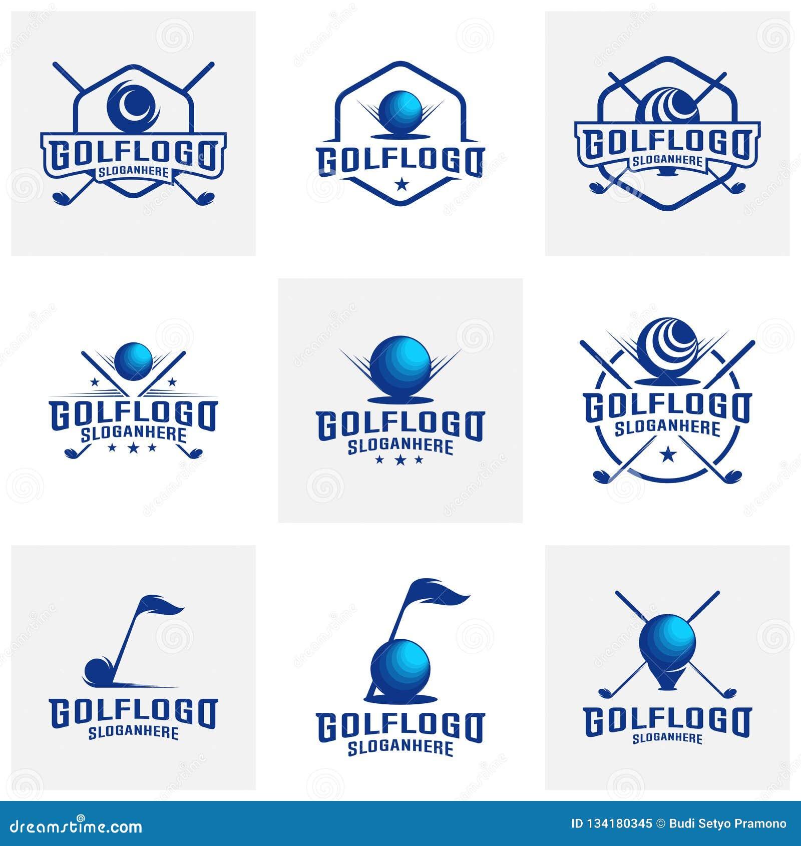 Set Of Modern Golf Badge Logo Vector Golf Club Logo Design Template Labels And Emblems Stock Vector Illustration Of Equipment Crown 134180345
