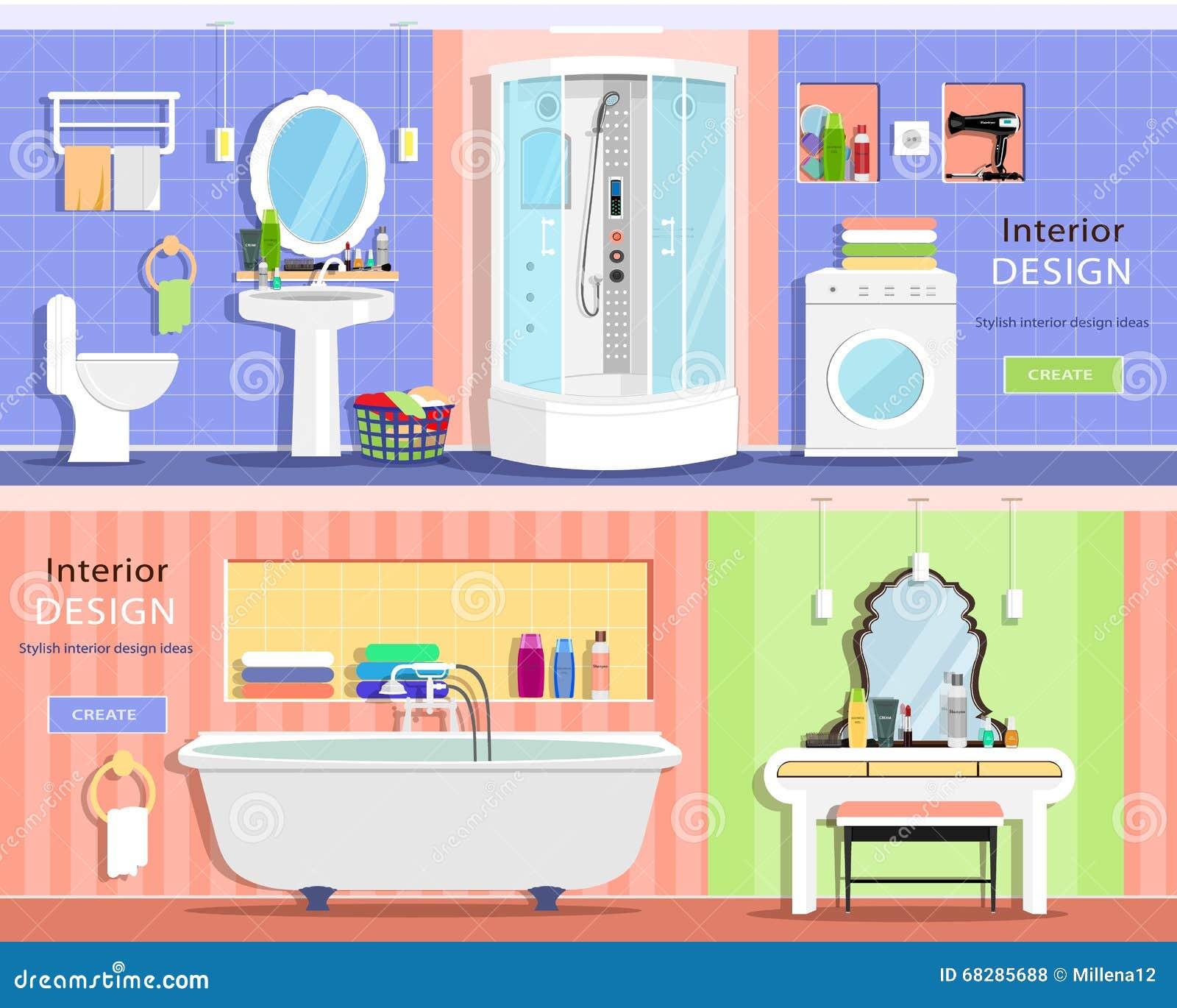 Set Of Modern Graphic Bathroom Interiors: Bath, Showers
