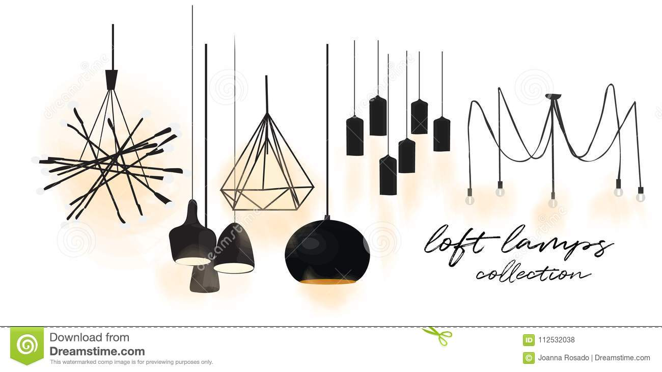 industrial style lamps collection. vector illustration. web site